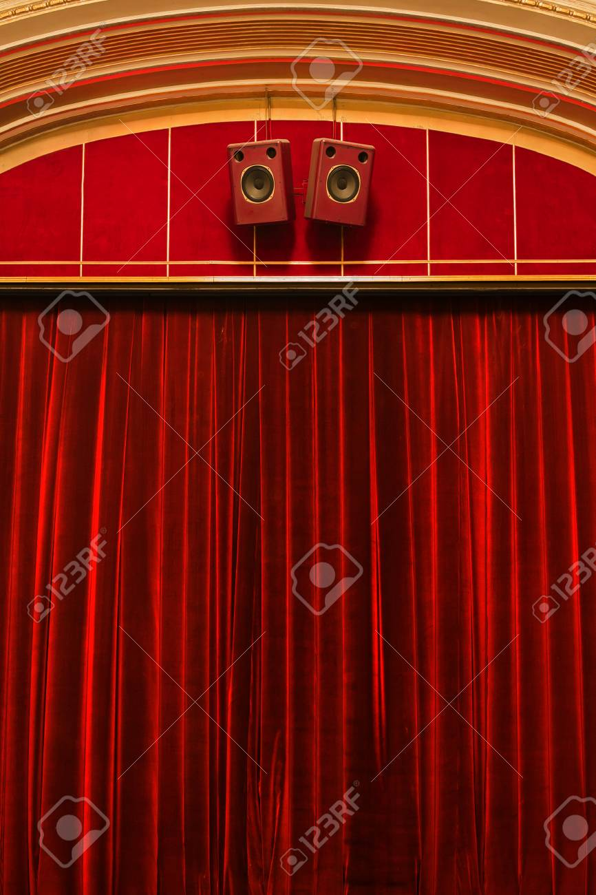 closeup detail of the red theatre curtains stock photo picture and