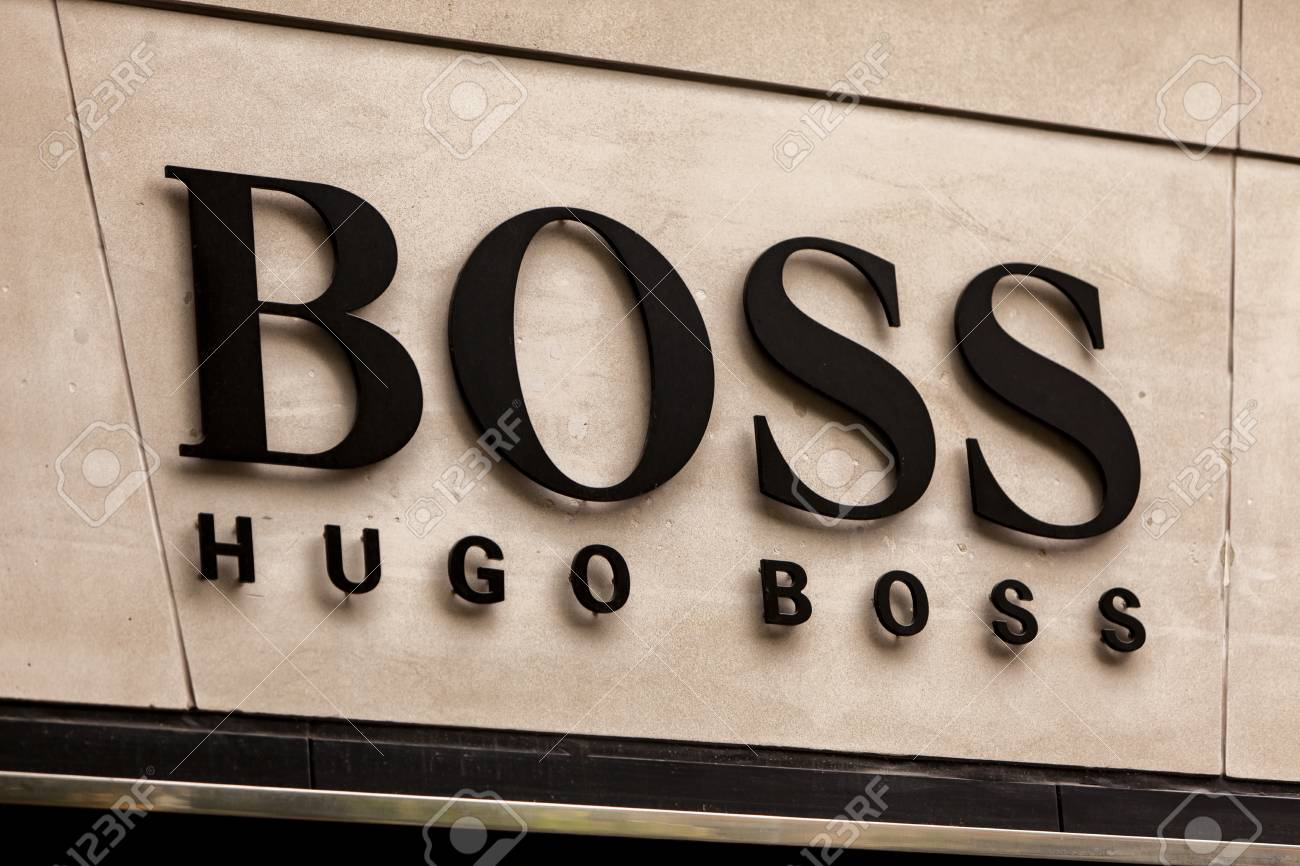 2a21a358f ZURICH, SWITZERLAND - MAY 17, 2018: Detail Of The Hugo Boss Shop ...