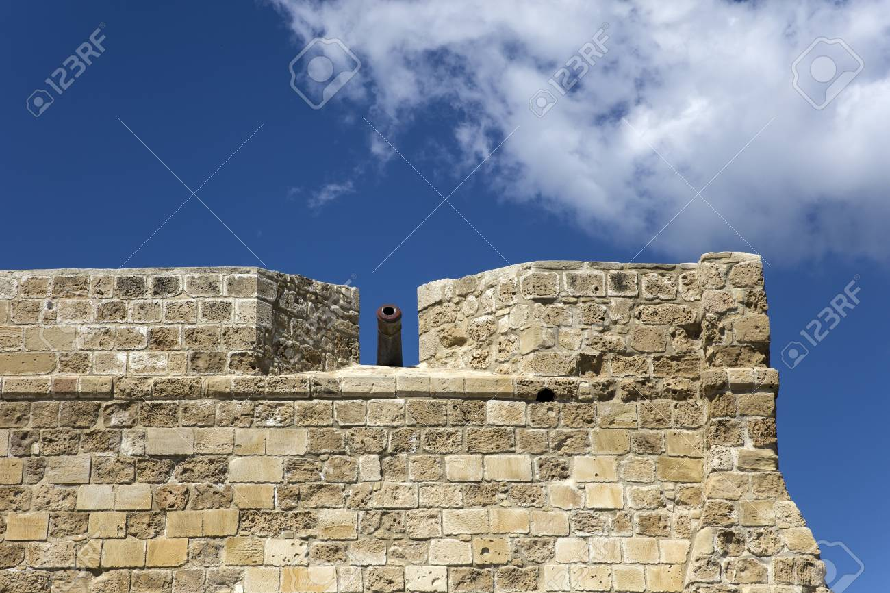Old stone wall from Larnaca castle at Cyprus