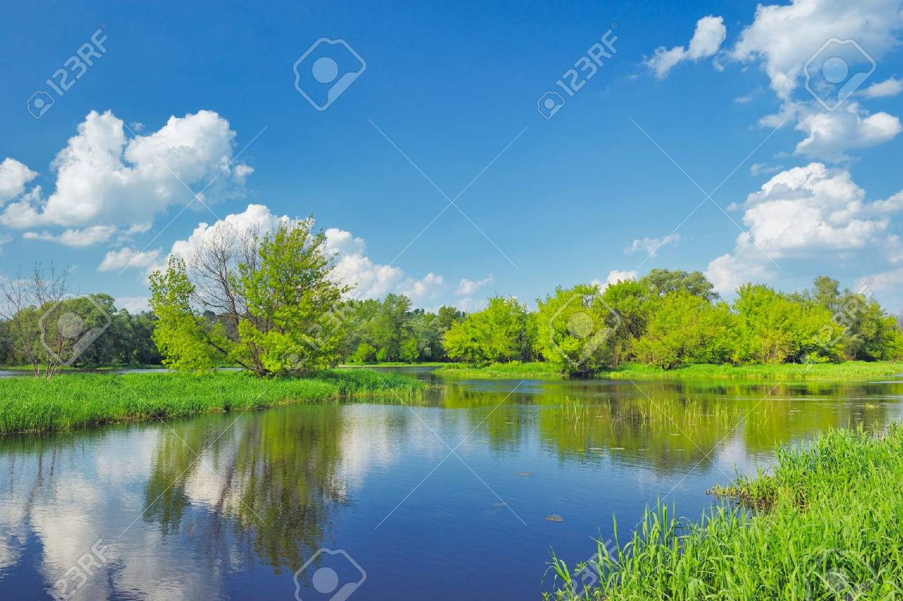 Spring Landscape with flood waters of Narew river, Poland. Stock Photo - 12208741