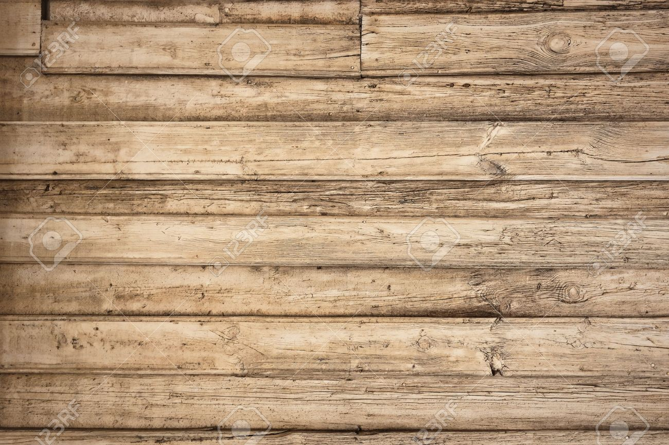 Old wooden boards as background - Old Wooden Background With Horizontal Boards Stock Photo 12856674
