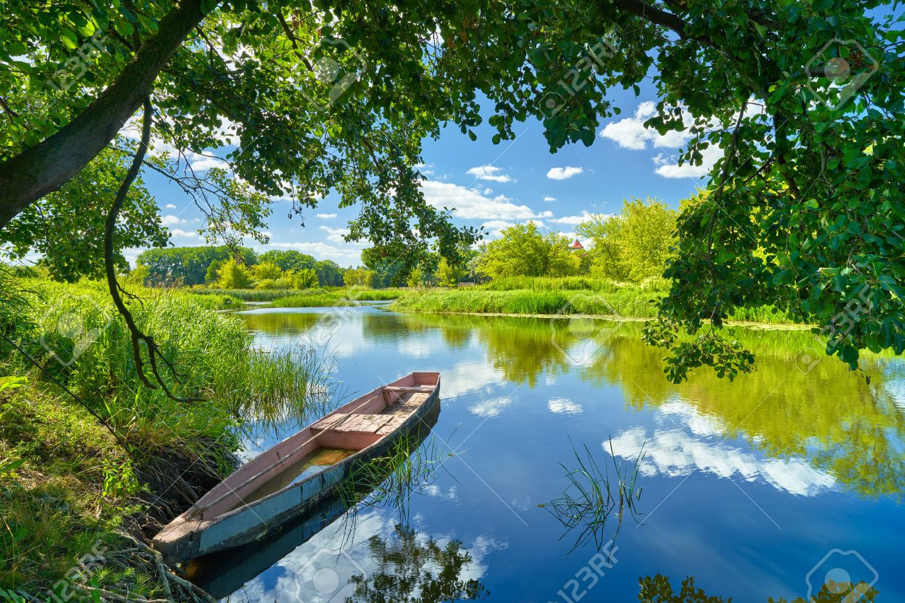 Spring summer landscape blue sky clouds Narew river boat green trees countryside grass Poland water leaves - 44102130