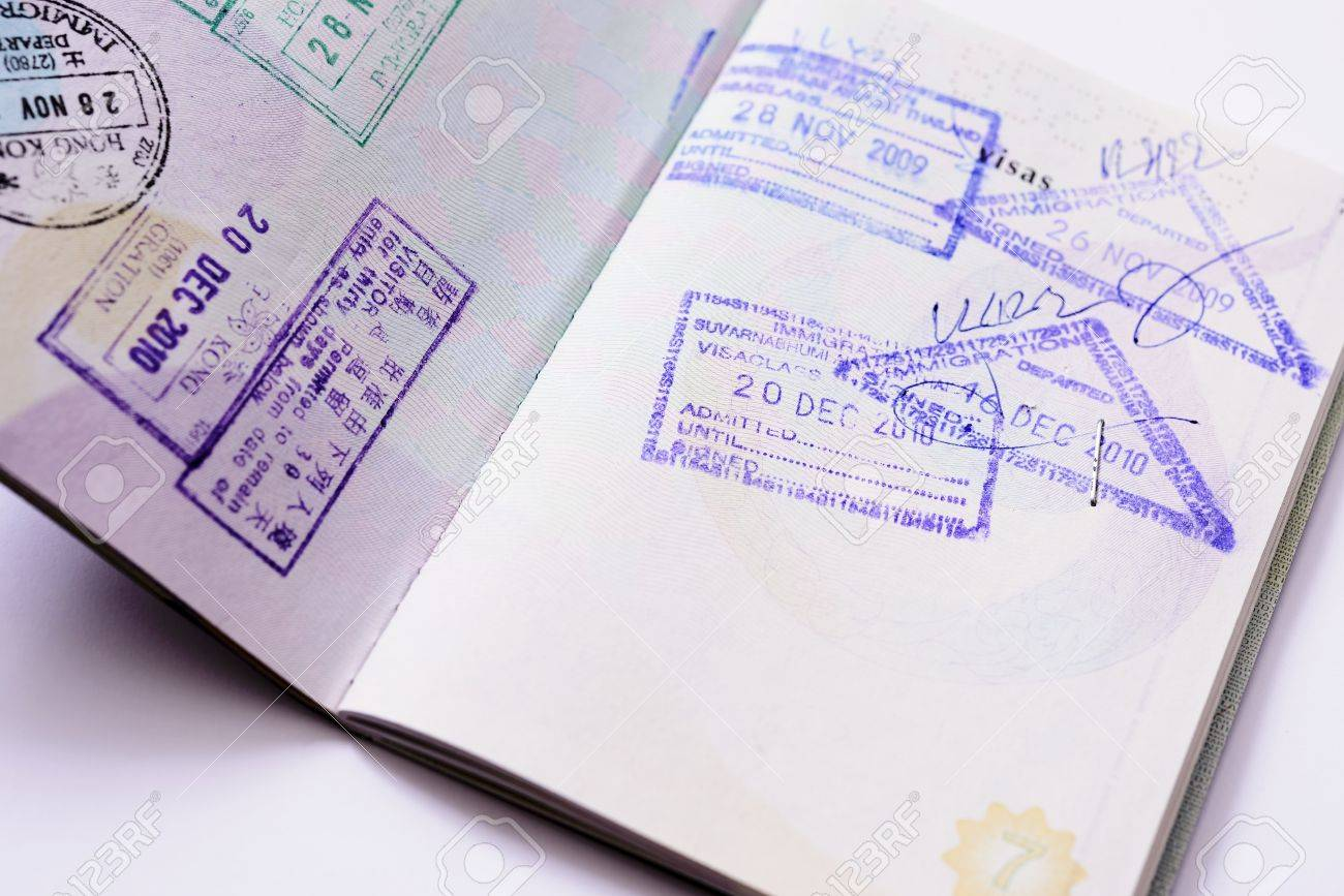 Immigration arrival stamps on passport - 22175894