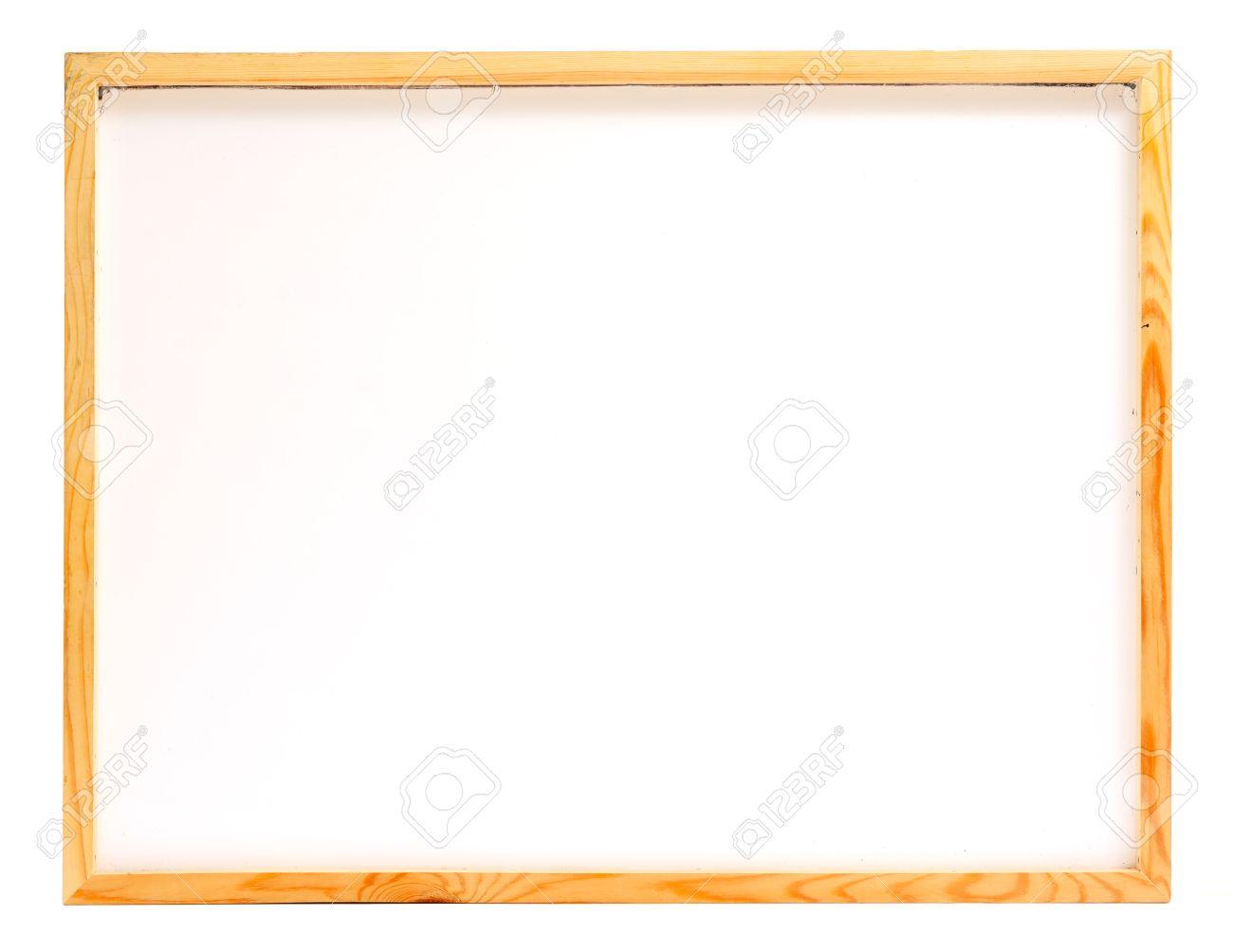 Wooden Frame Whiteboard Isolated On White Background Stock Photo ...