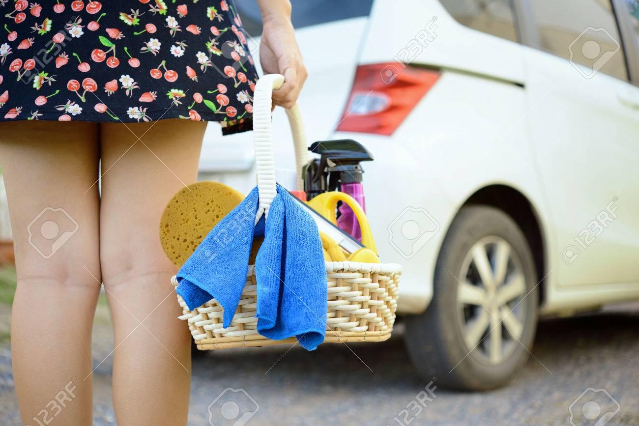 Woman ready for washing a car - 22186471