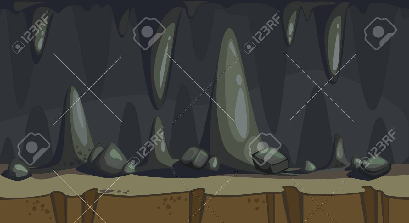 Cartoon Seamless Background Of The Dark Cave With Stalactite Royalty Free Cliparts Vectors And Stock Illustration Image 97451428