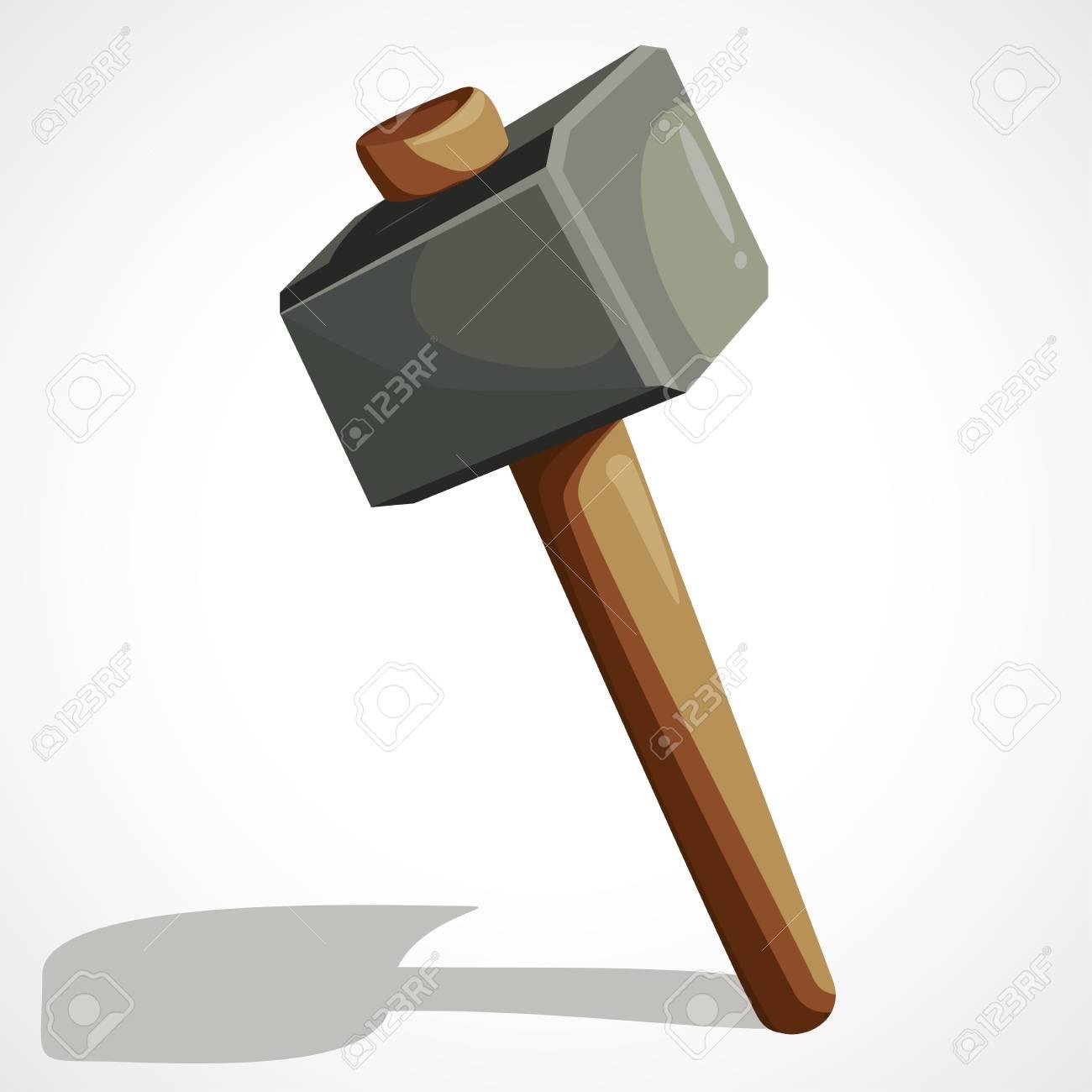 Cartoon sledgehammer tool. Sledgehammer vector stock illustration. - 97853190