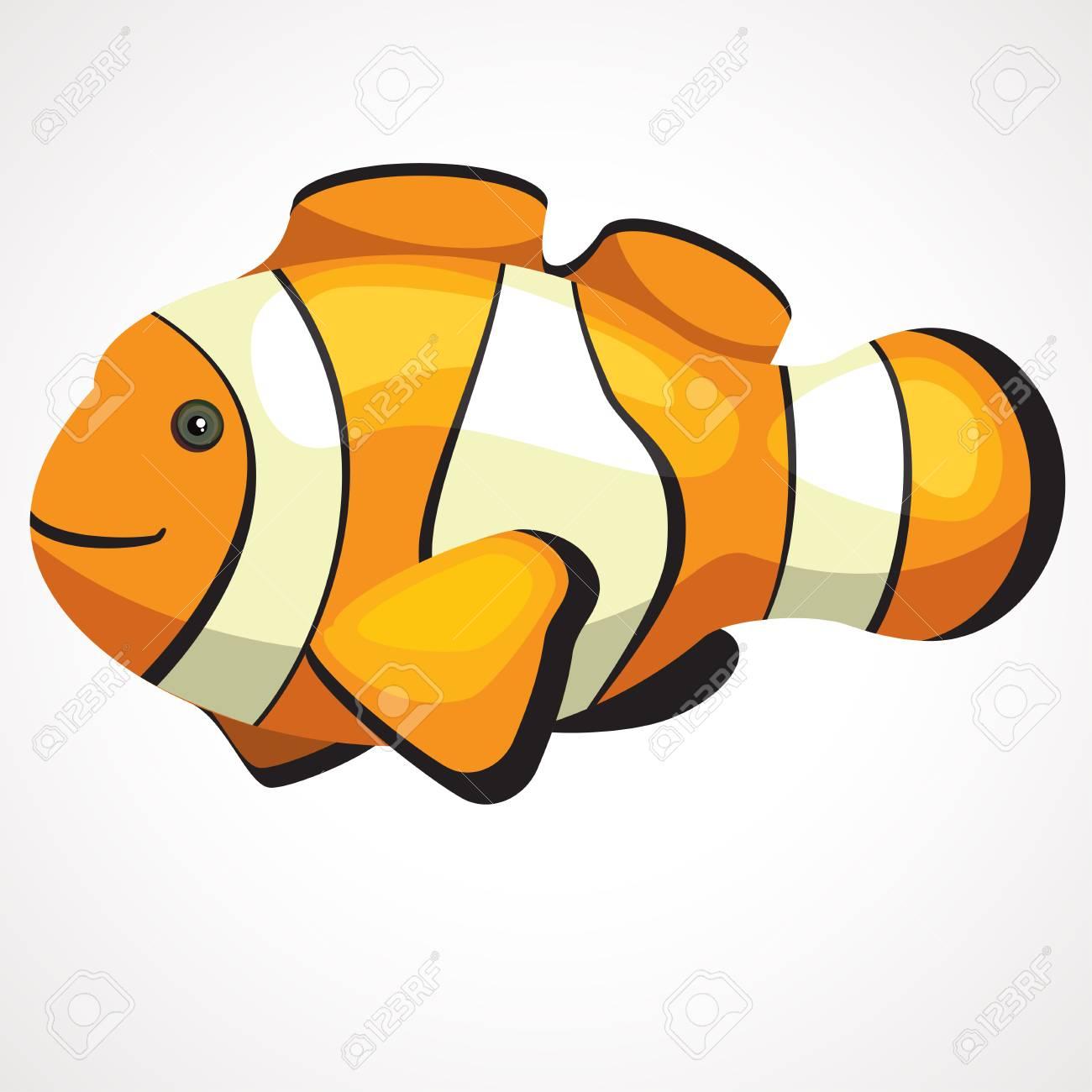 Gold Aquarium Cute Clown Fish Cartoon Vector Drawing Royalty Free