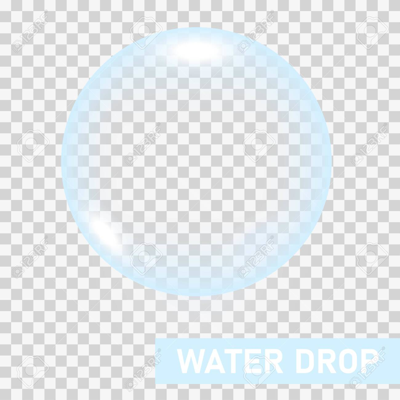 Transparent water drop on light gray background, vector illustration - 145337584