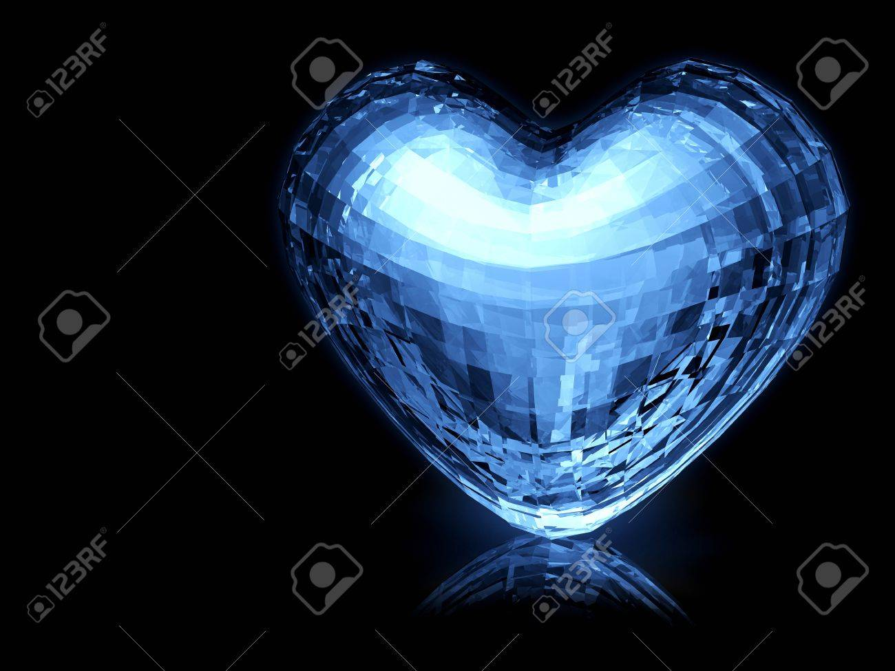 3d Bright Blue Heart Mirror Ball Standing On Black Ground. Valentine ...