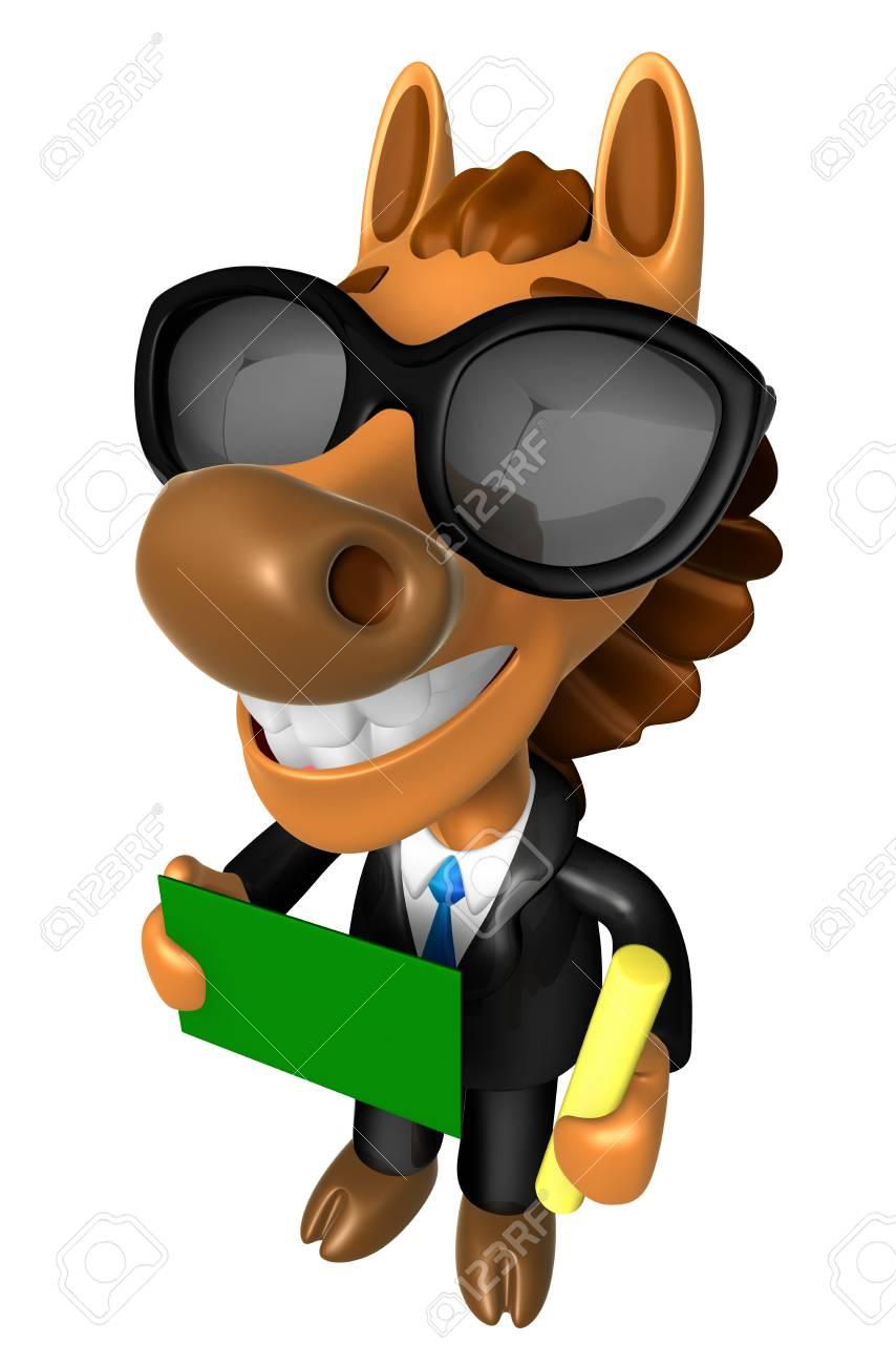 3d Cheval Mascot Main Tient Une Craie Et Tableau Noir 3d Character