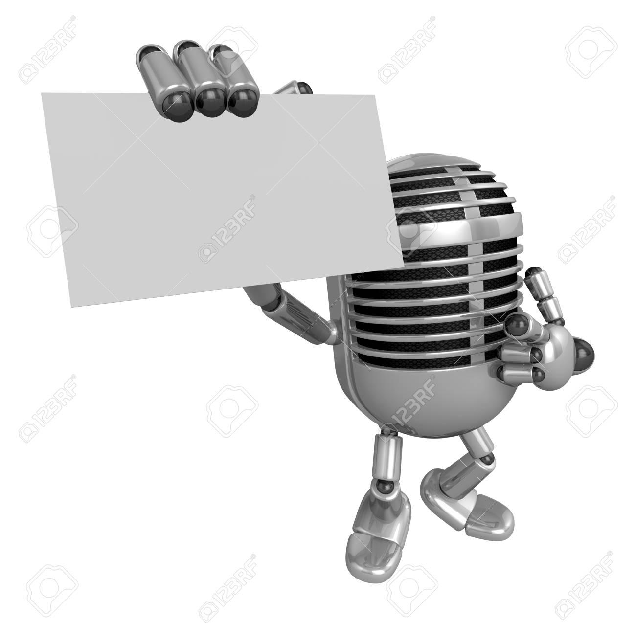 3D Classic Microphone Mascot Les Guides A Droite Et La Main Gauche Contient Des Cartes De