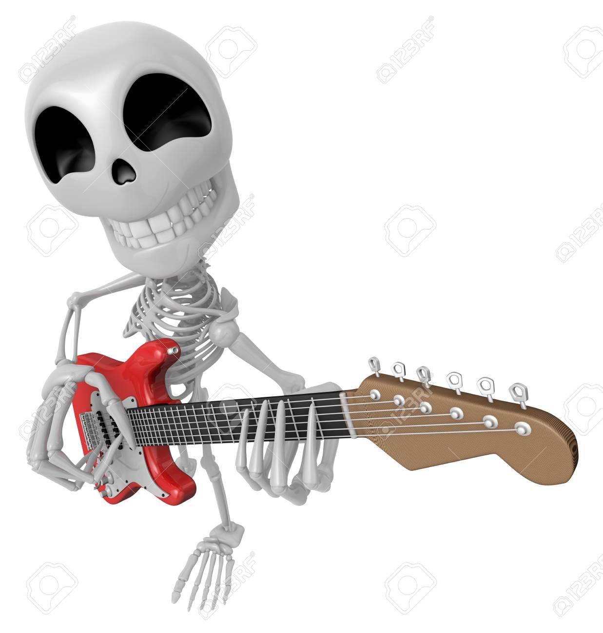 3D Skeleton Maskottchen Muss Die E-Gitarre Spielen. 3D Schädel ...