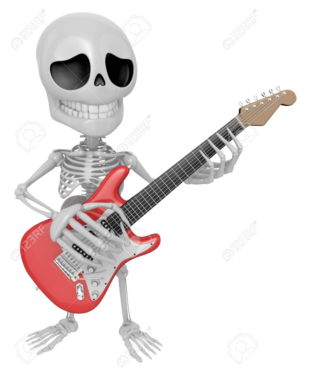 3D Skeleton Mascot Has To Be Playing The Electric Guitar. 3D.. Stock ...