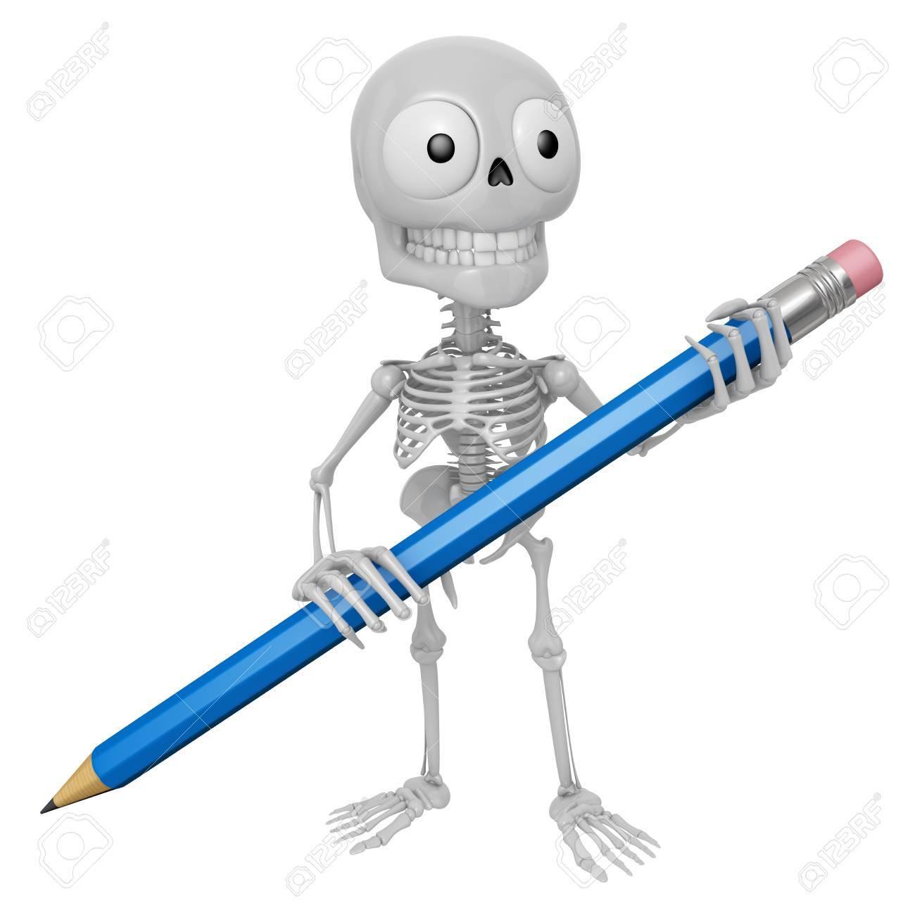 3d Skeleton Mascot E In Possesso Di Una Grande Matita Con Entrambe