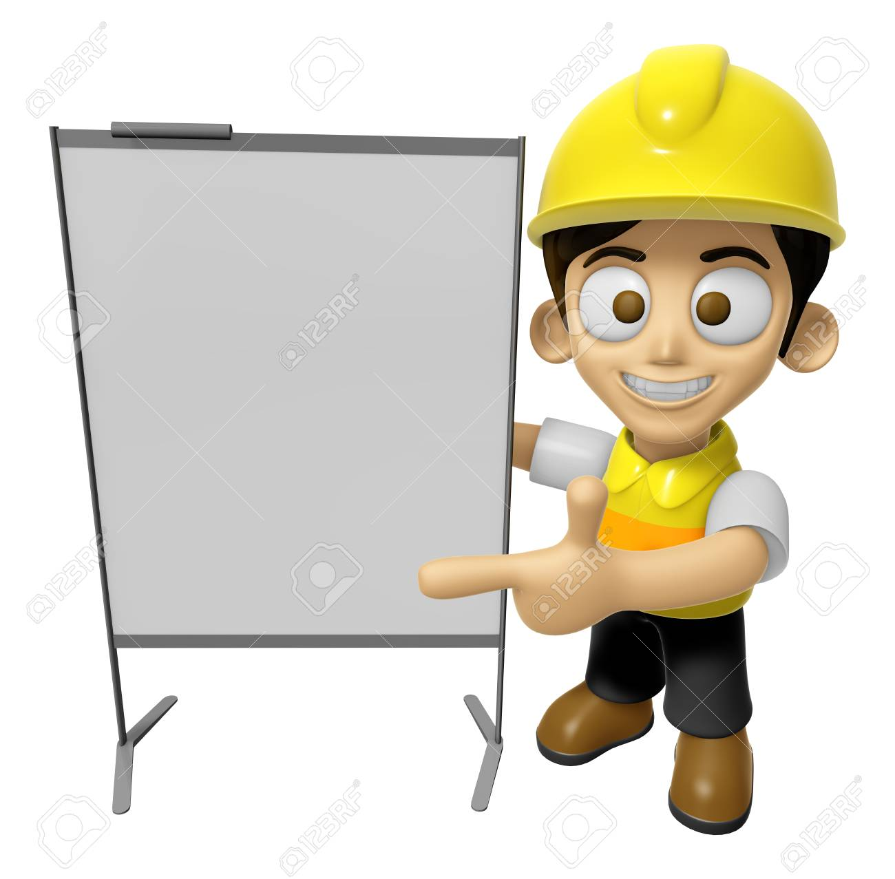 3D Construction Worker Man Mascot Is Concise Explanation Of A Whiteboard.  Work And Job Character  Construction Worker Job Description