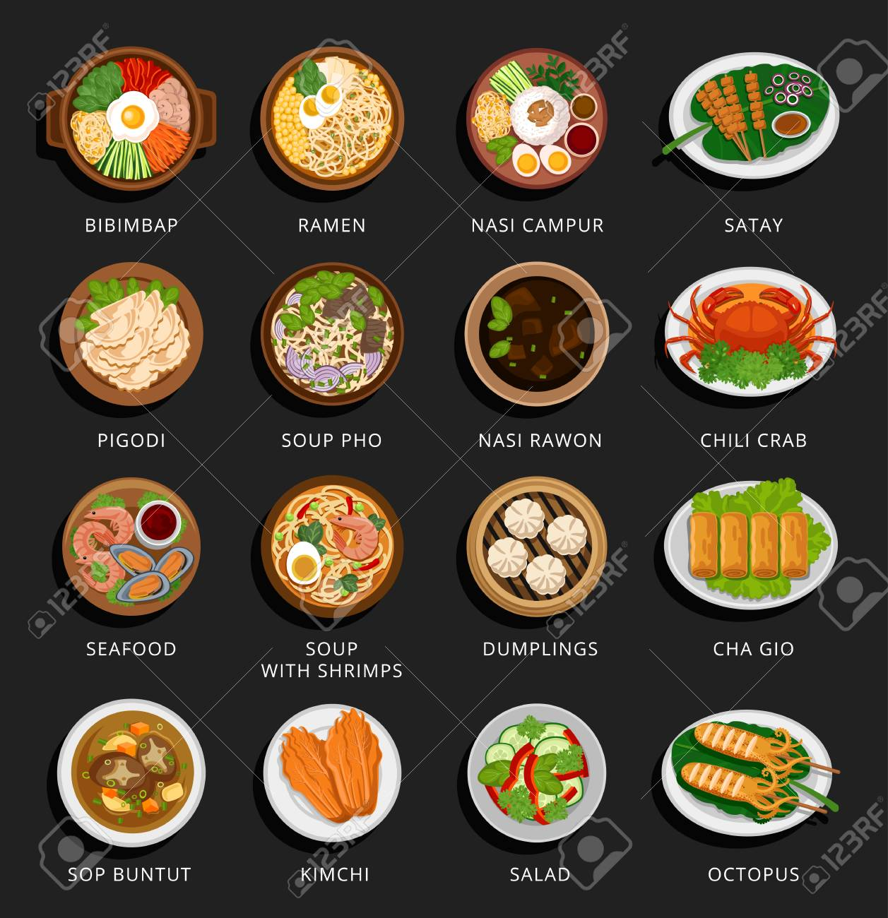 Big set of asian food. Vietnamese, Korean, Indonesian, Chinese and Japanese cuisine. Various food dishes. Vector flat illustration. Can be used for layout, advertising and web design. - 96982818