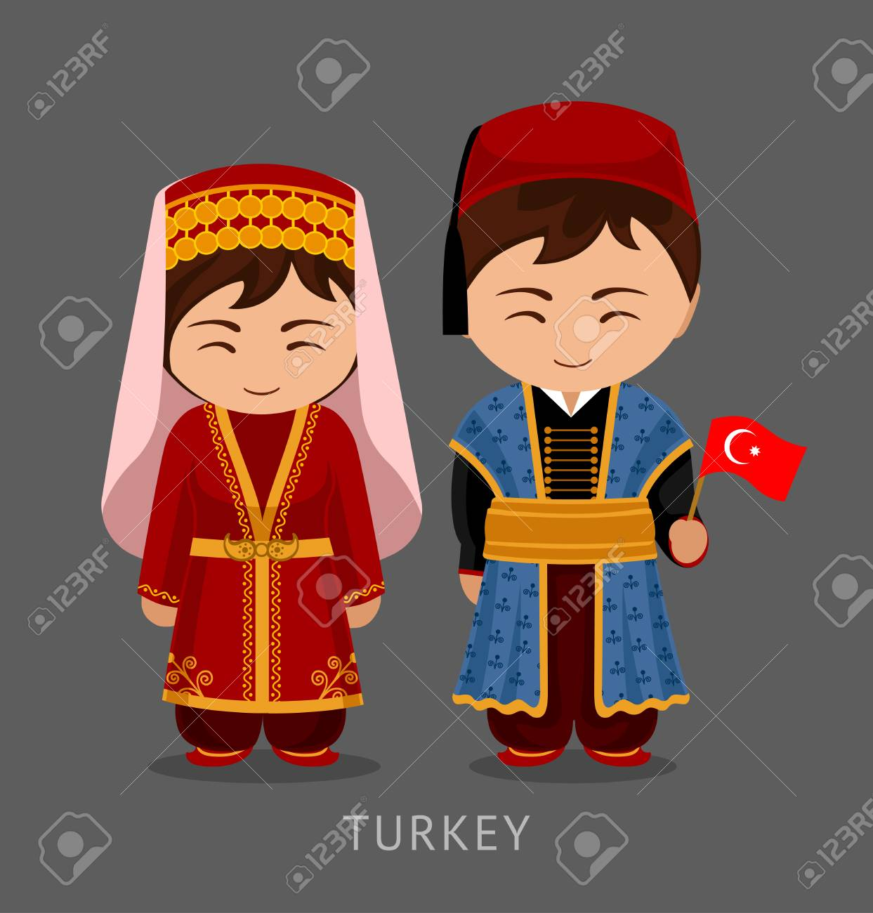 Turks in national dress with a flag. Man and woman in traditional costume. Travel & Turks In National Dress With A Flag. Man And Woman In Traditional ...
