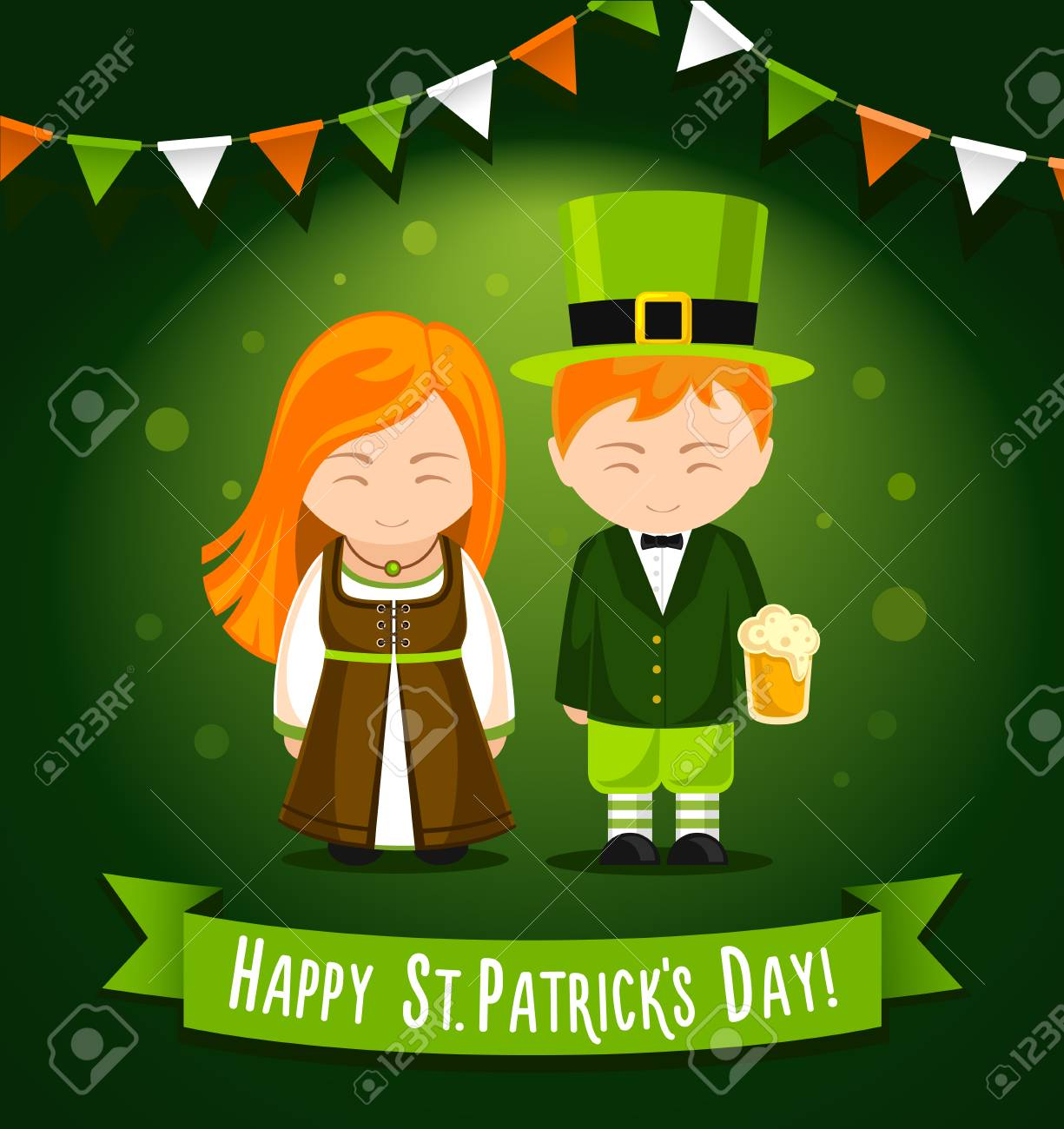 62479836 Vector illustration. Happy Saint Patrick's Day. Girl and boy with glass of  beer on a green background