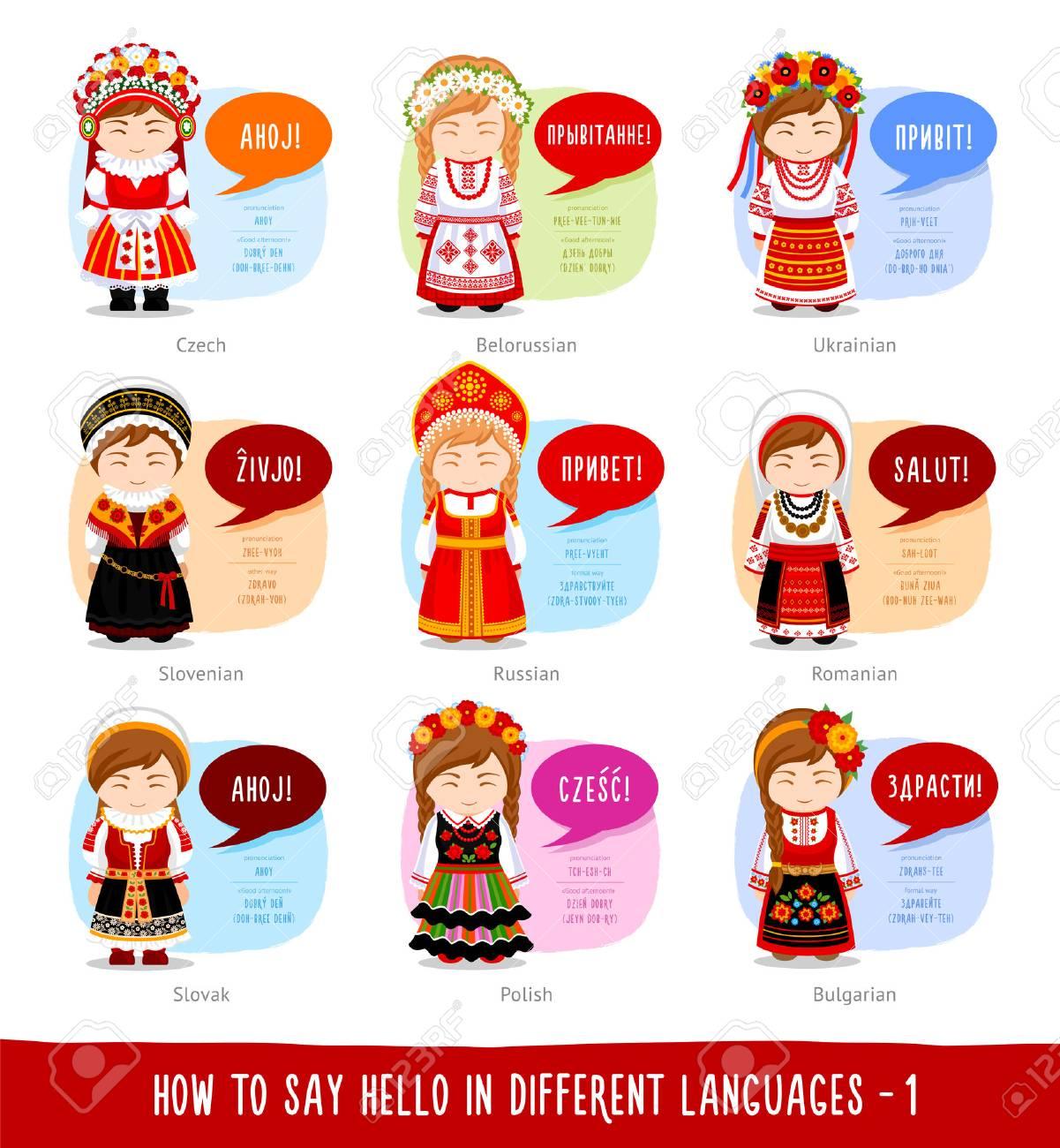 Hello in foreign languages: Russian, Belarusian, Ukrainian, Slovenian, Slovak, Polish, Czech, Romanian, Bulgarian. - 97572689