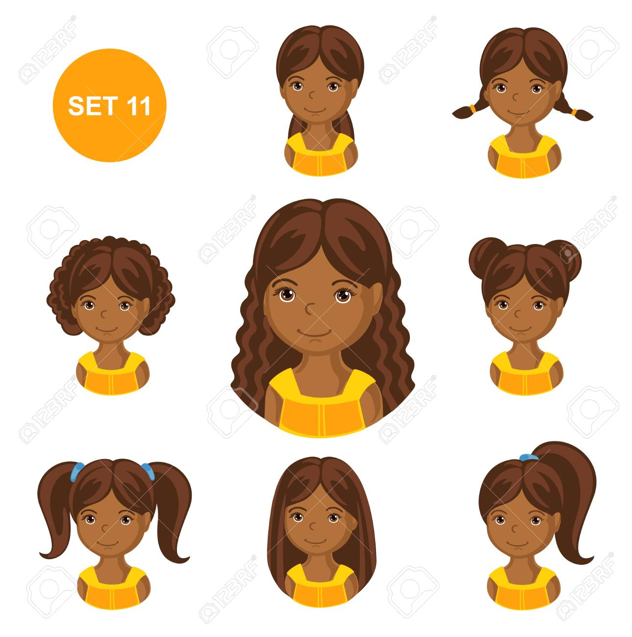Cute Little African Girls With Various Hair Style Set Of Children S