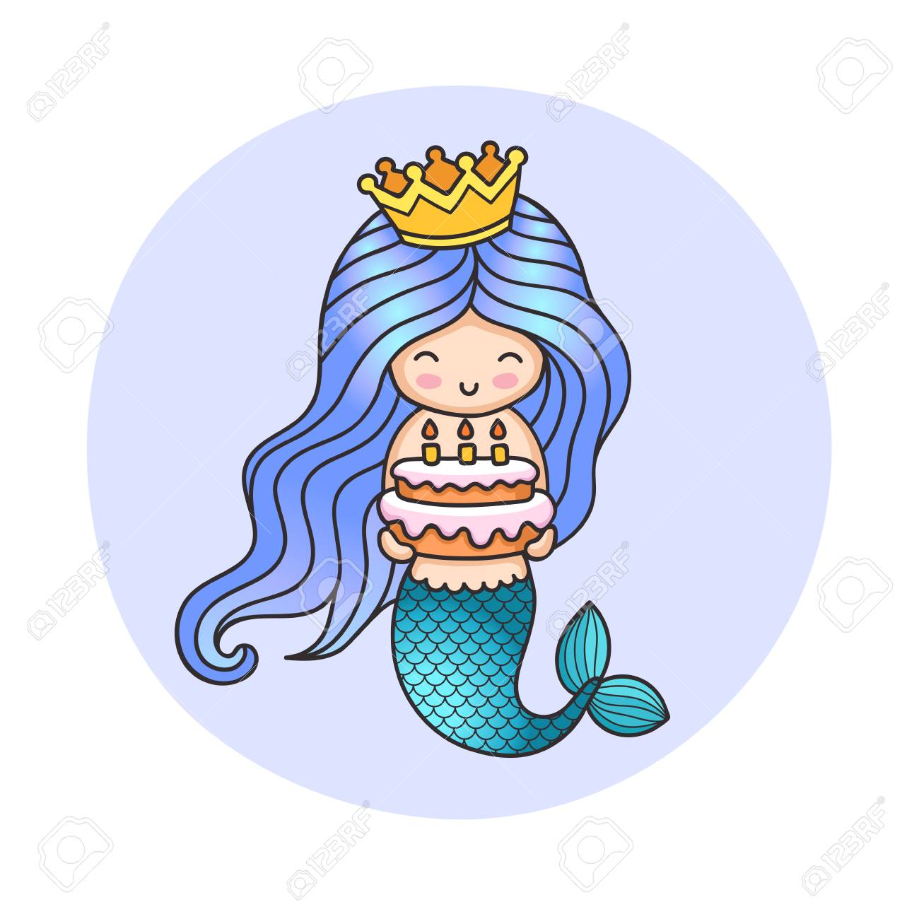 Little Happy Princess Mermaid Holding A Birthday Cake Cute Cartoon Character Illustration For