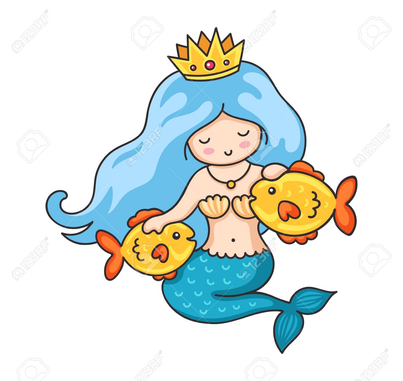 Cute Princess Mermaid With Crown And Two Golden Fish Cartoon Royalty Free Cliparts Vectors And Stock Illustration Image 112311557 Последние твиты от a mermaids crown (@amermaidscrown). cute princess mermaid with crown and two golden fish cartoon