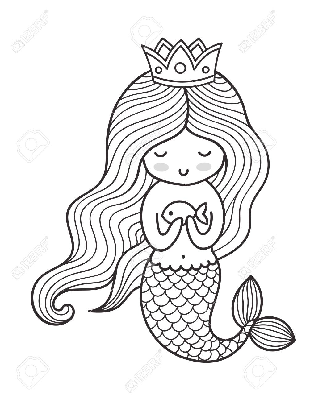 Mermaid With Long Curly Hair And Crown Vector Outline Illustration