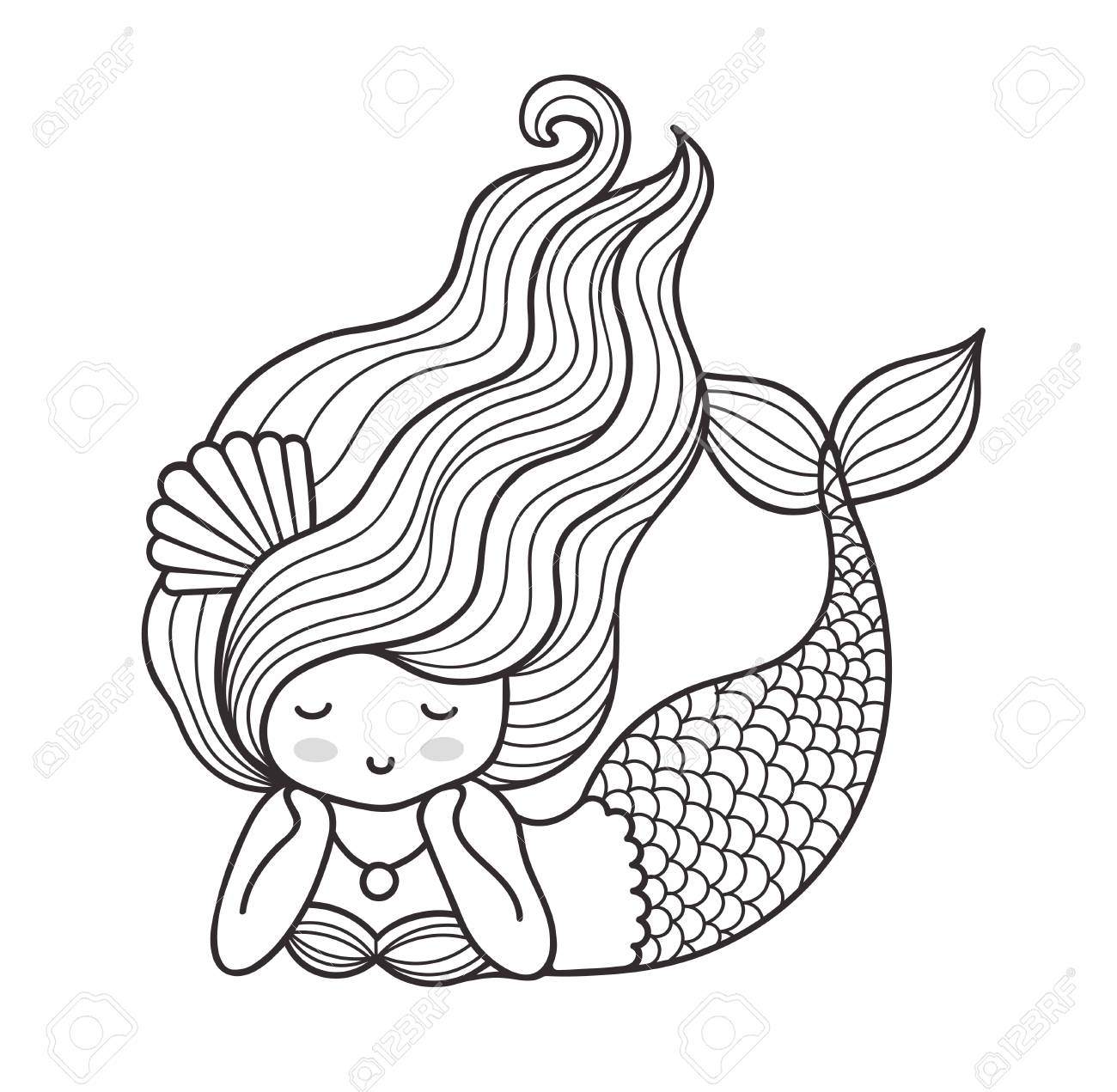 Dreamy Lying Mermaid With Long Curly Hair Vector Outline Illustration