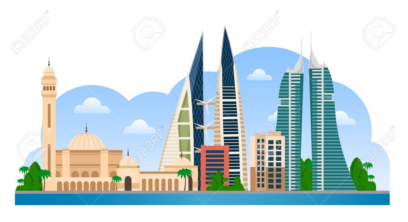 3b0fcd51d568 Bahrain. Manama skyline with colorful buildings and blue sky. Vector flat  illustration for tourism