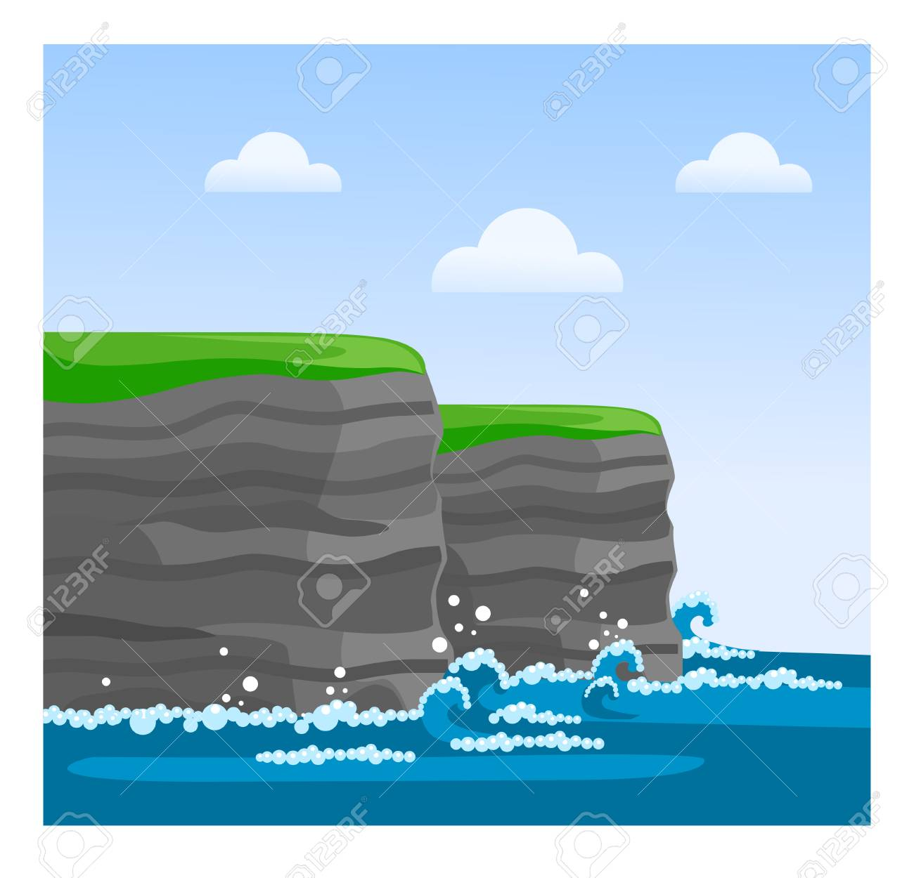 Cliffs of Moher in County Clare. Famous Irish sight. Travel to Ireland. Vector flat illustration. - 112115208