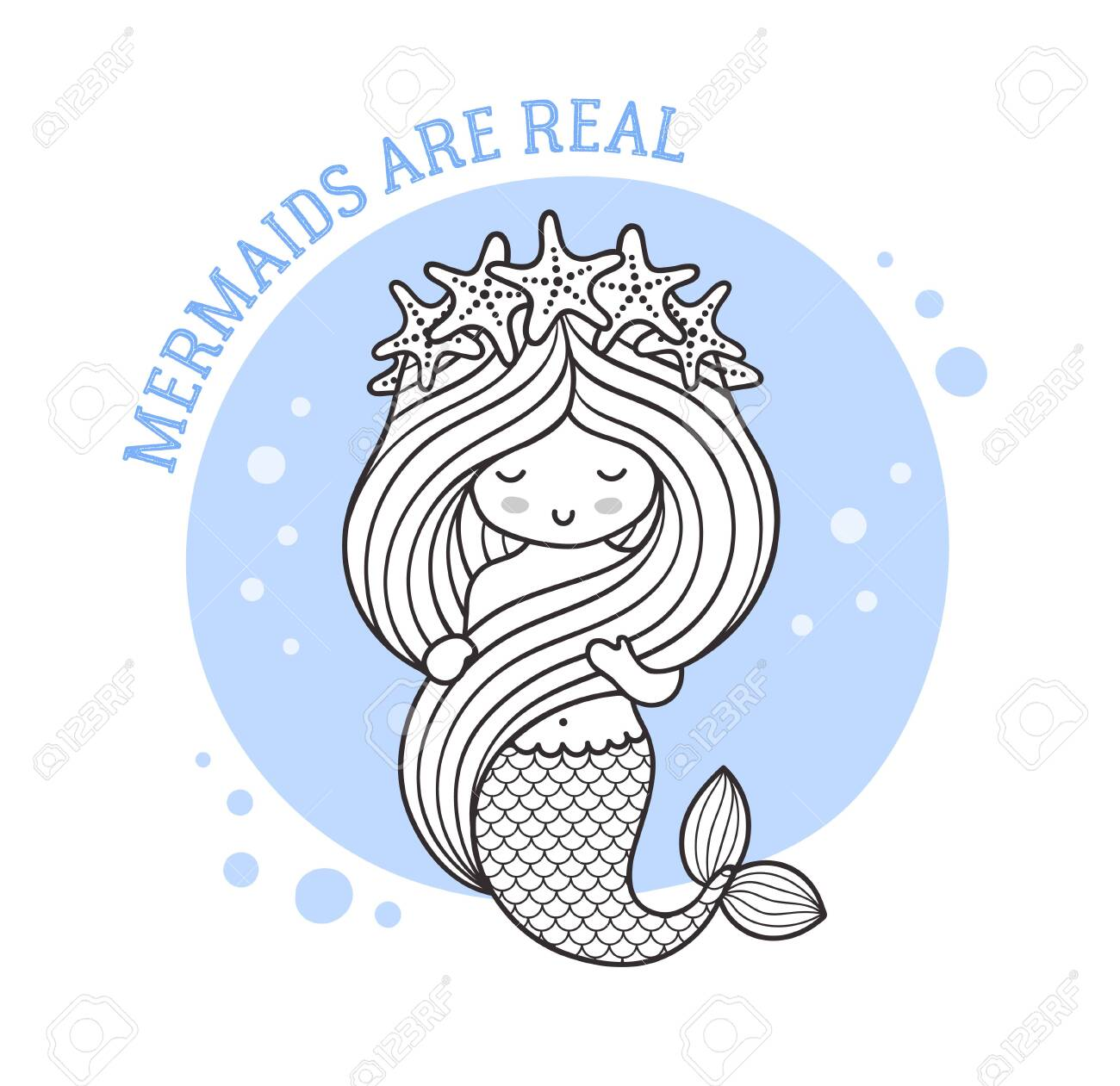 Little mermaid in a wreath of starfish. Mermaids are real quote...