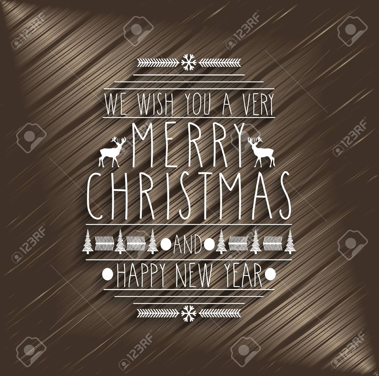 merry christmas design greeting card handwritten text on wooden background happy new year message