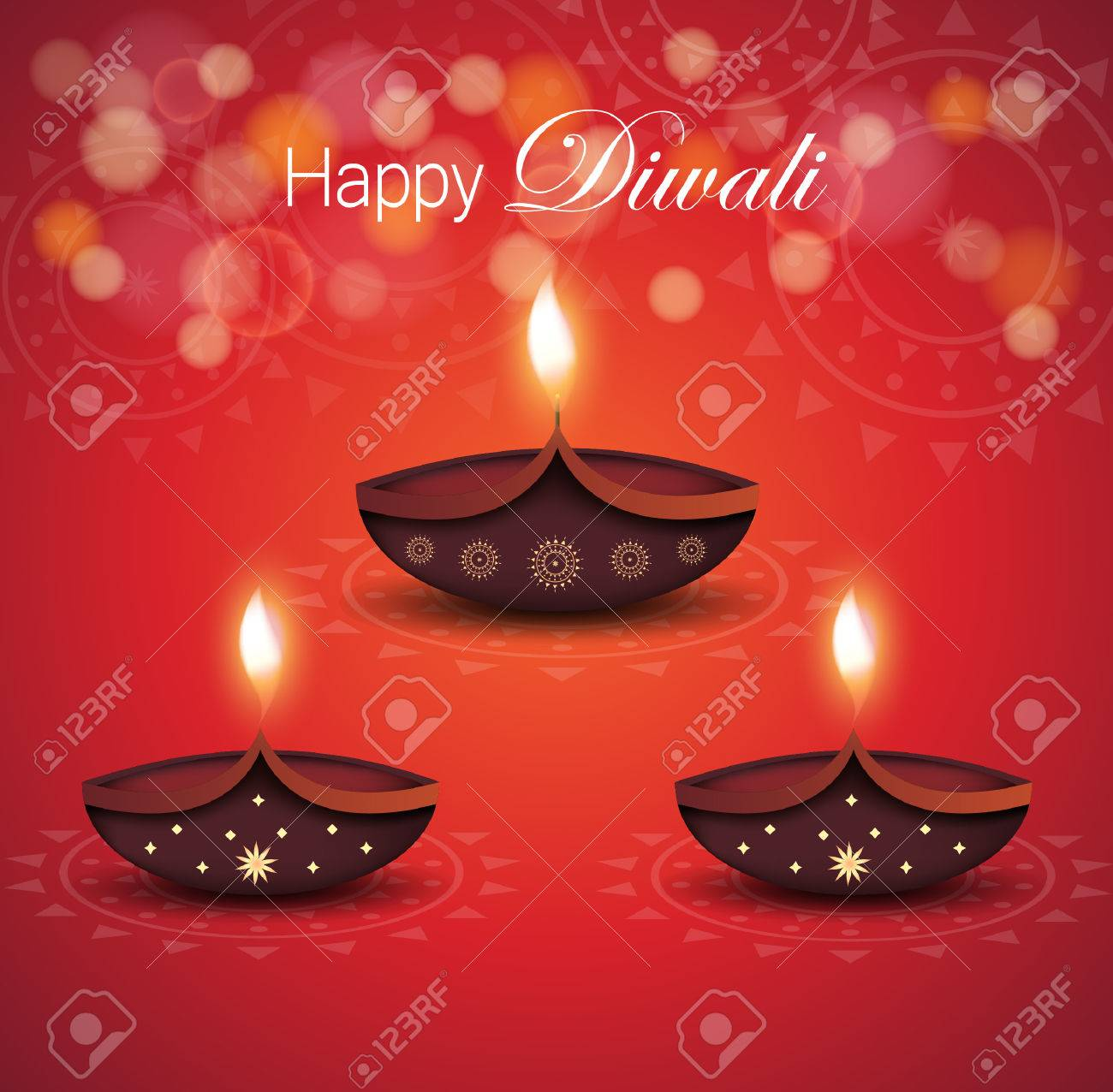Happy Diwali Poster With Burning Diya On Red Background Vector