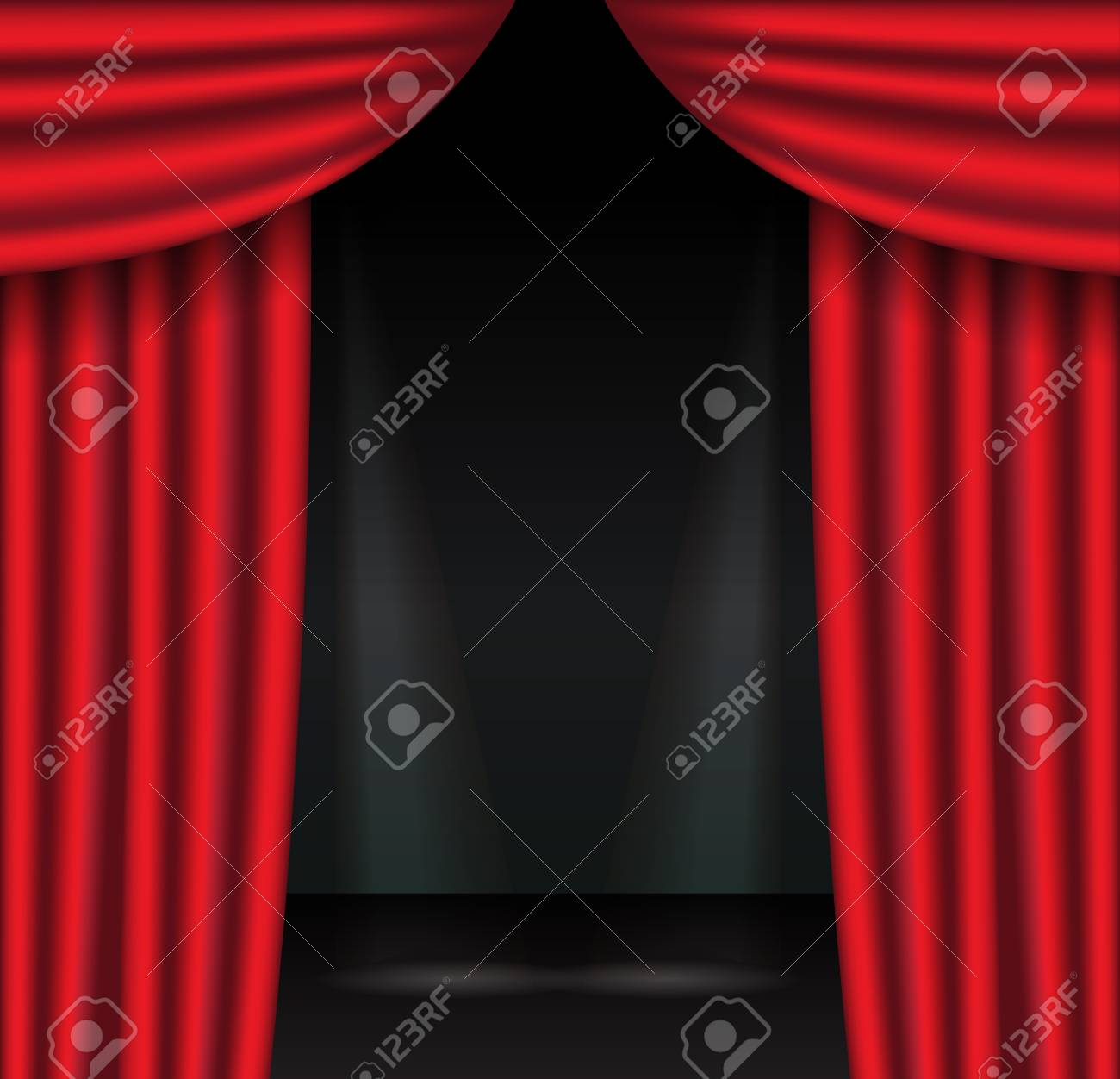 Red Theater Curtains With Spotlight Open Velvet Drapes Vector Illustration Stock