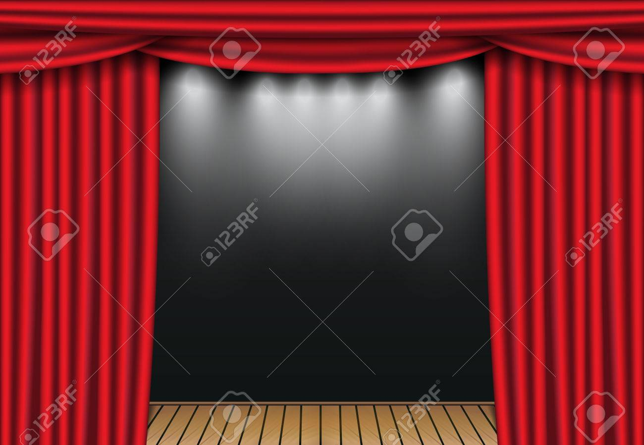 Red Theater Curtains With Spotlight And Wooden Stage Open Velvet