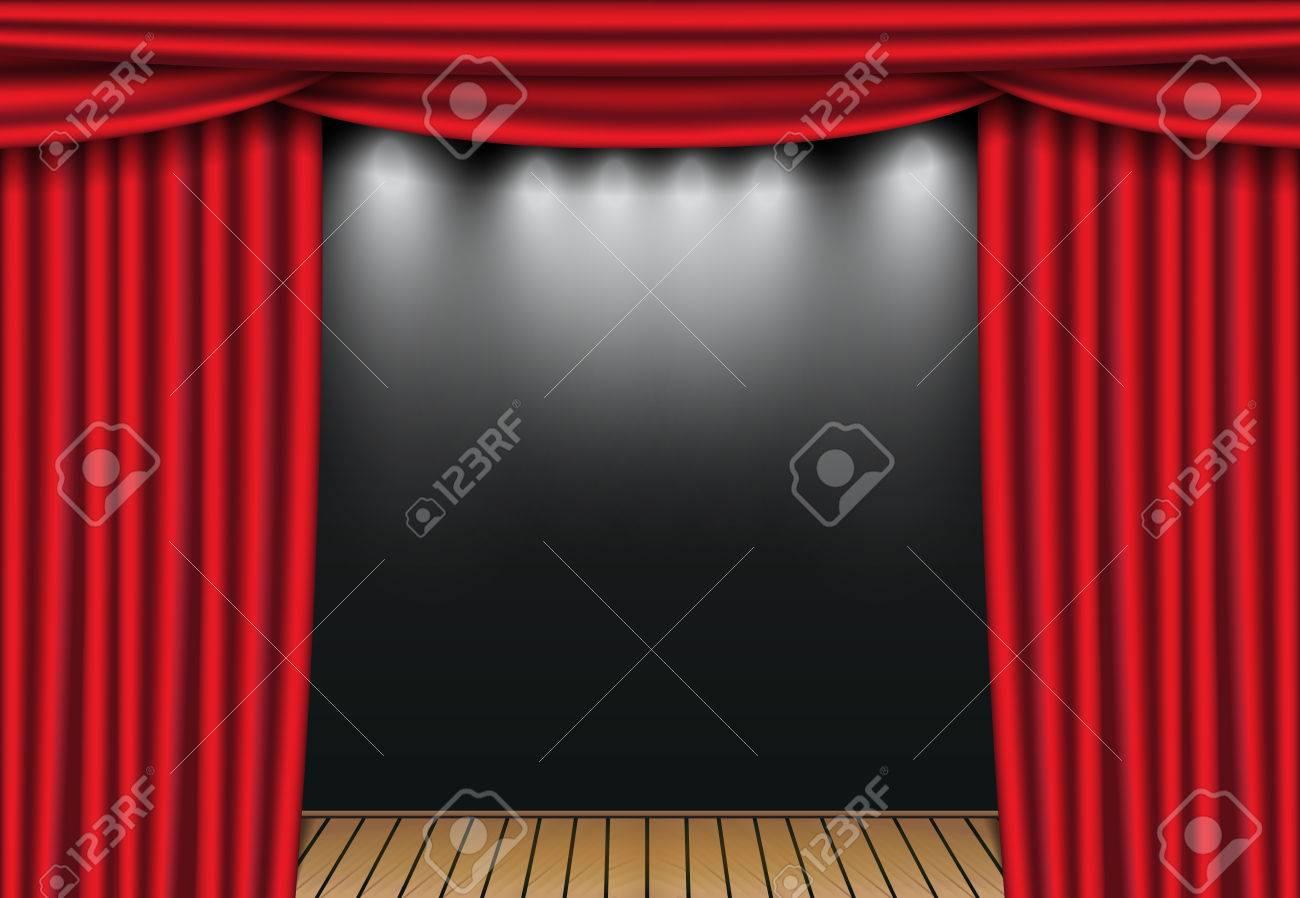Rideaux De Théâtre Rouge Avec Projecteur Et Scène En Bois Ouvrez