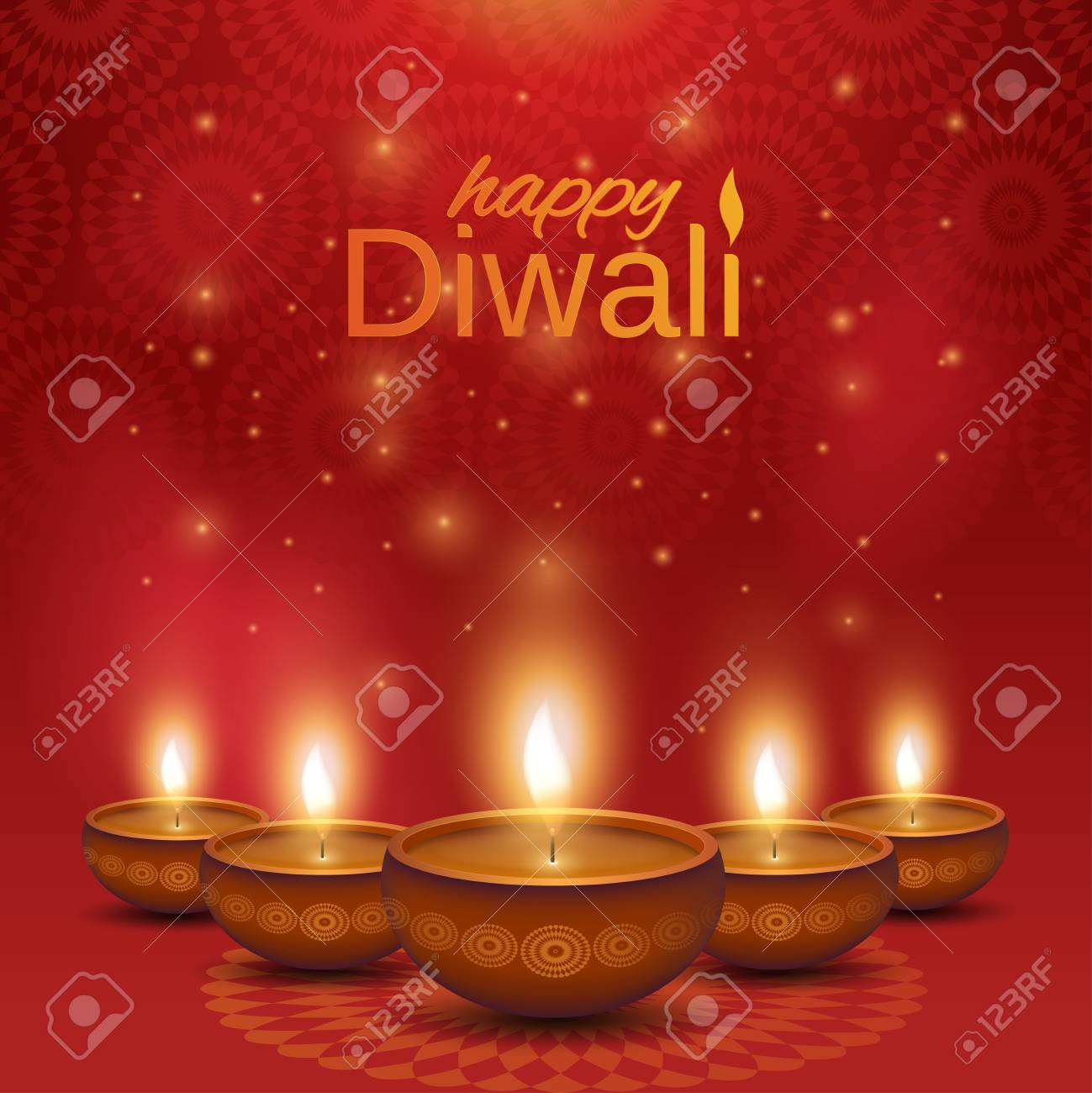 Happy Diwali Poster Shiny Oil Lamps Diya On Abstract Background