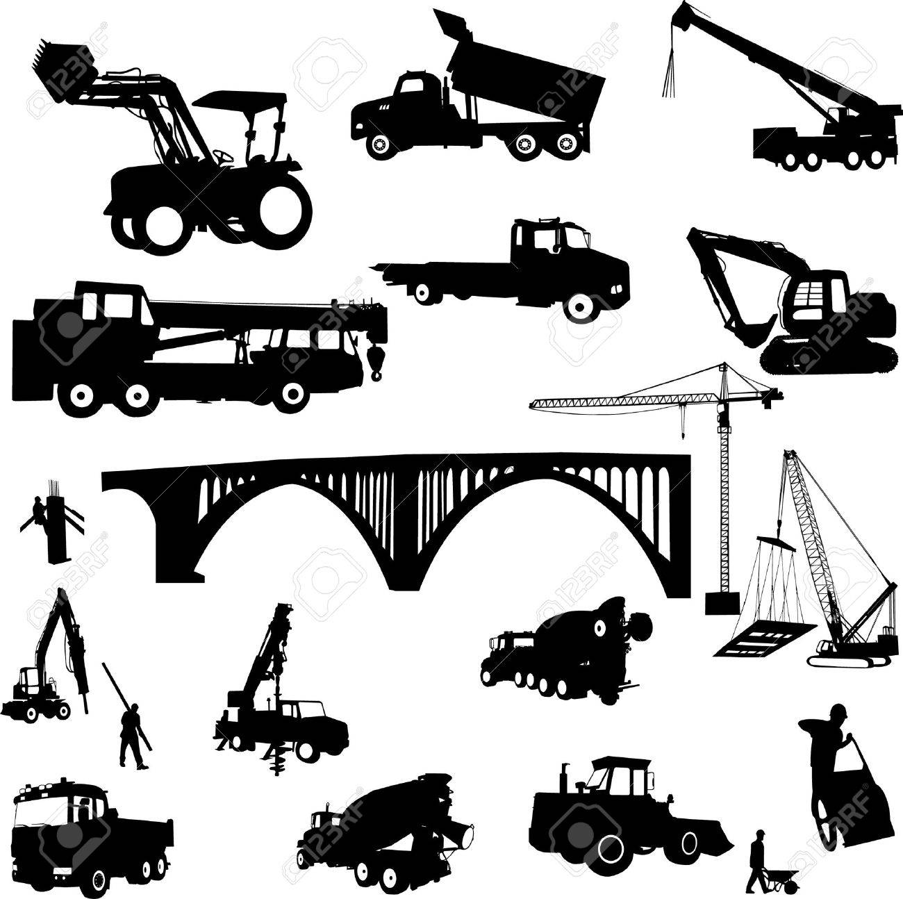 construction objects vector (crane - worker - building - skimmer) Stock Vector - 5791883