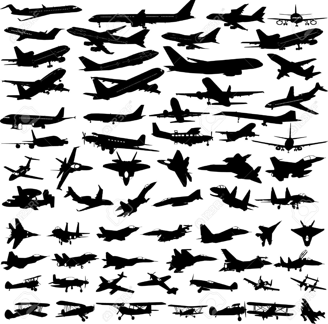 airplanes,military airplanes collection - vector Stock Vector - 5937098