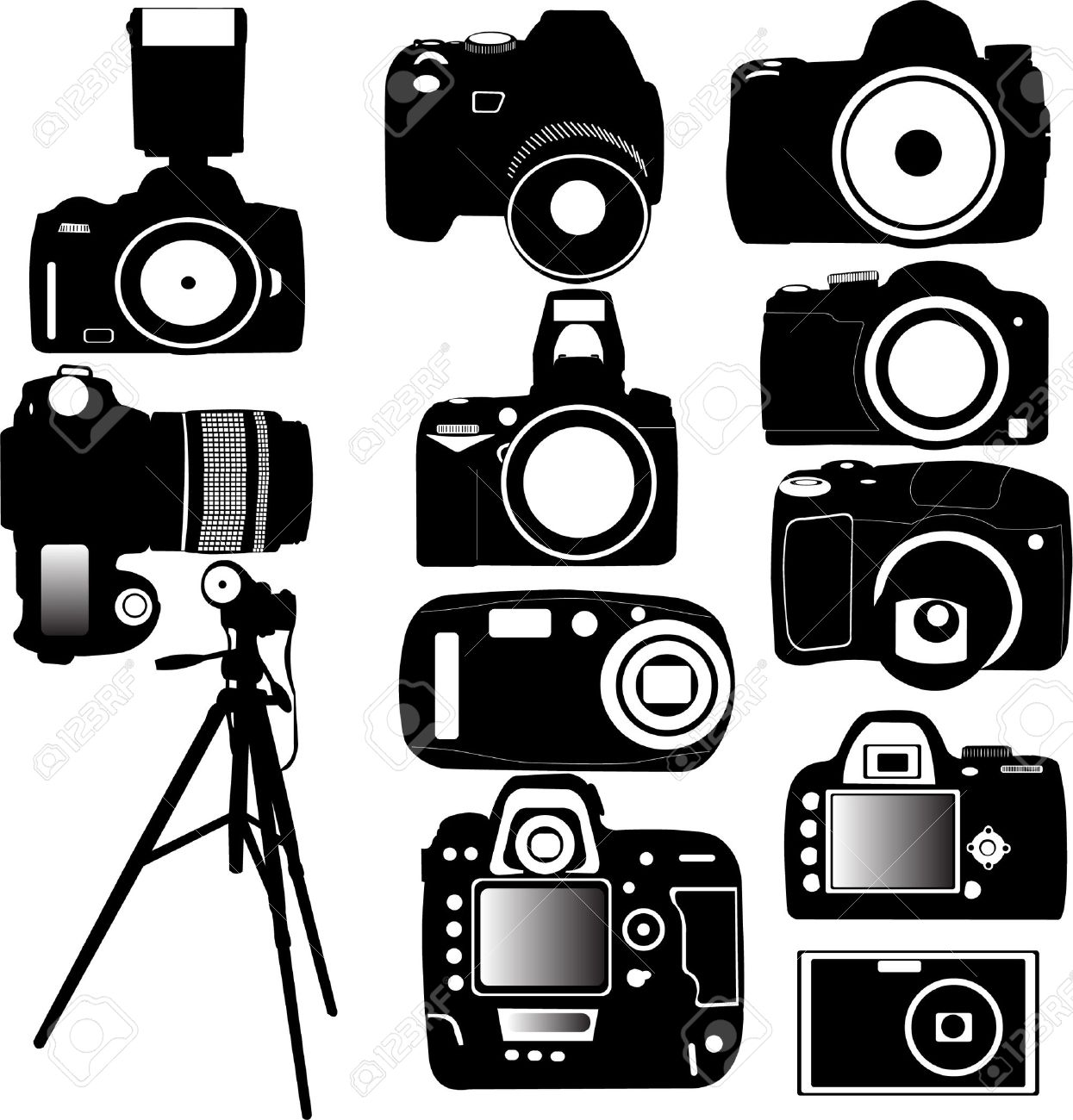 Dijital Photo Camera And Tripod Vector Royalty Free Cliparts ...