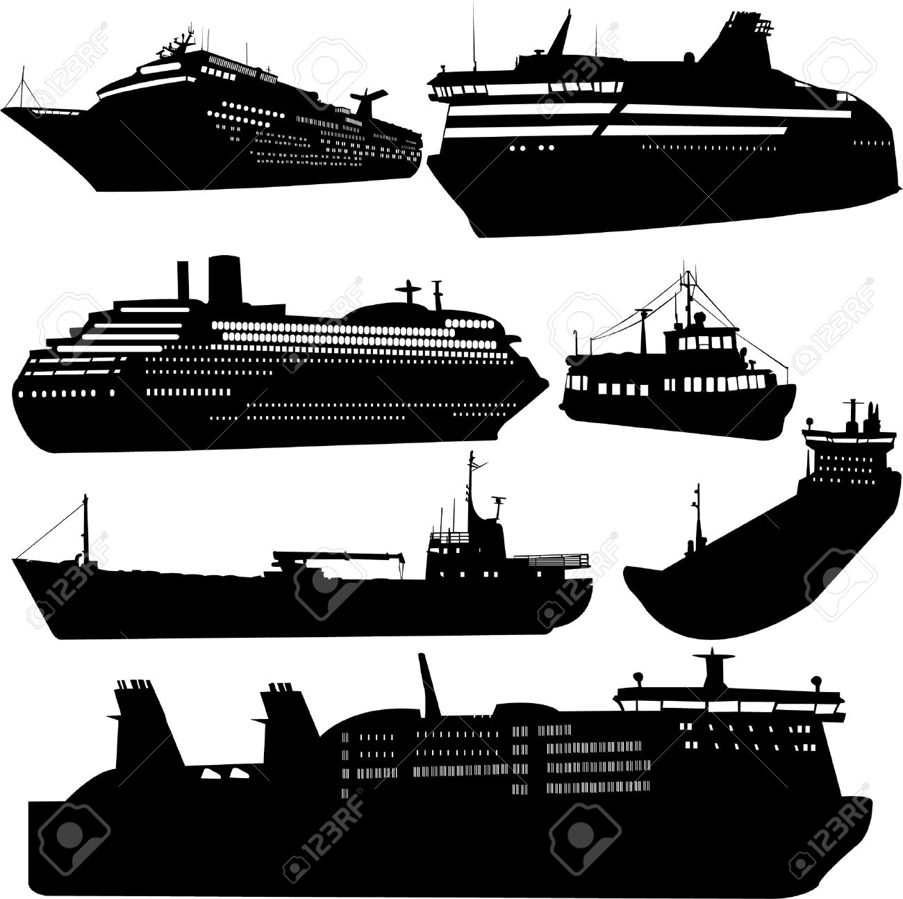 Set of silhouettes of ships - 6757695