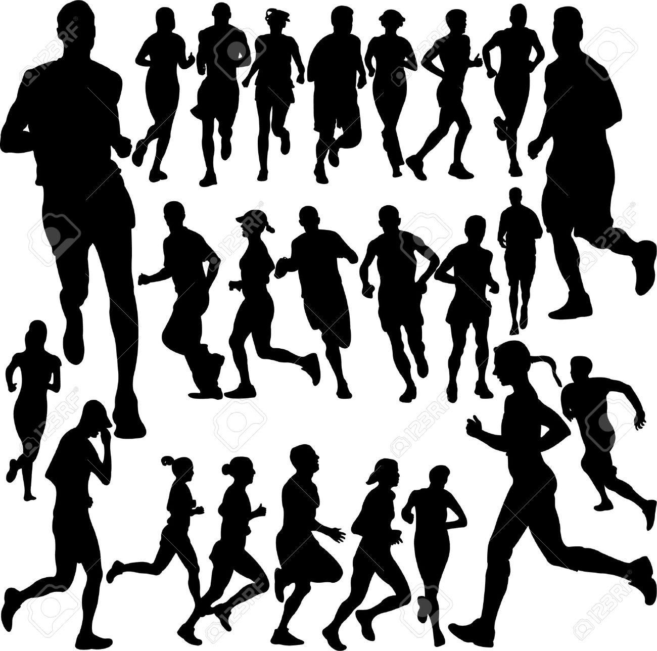 running people collection Stock Vector - 7841381