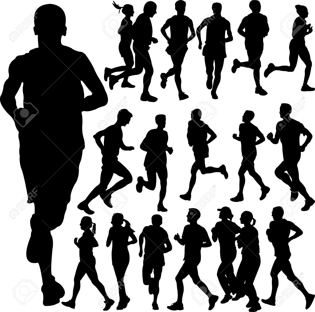 running people set vector 2 Stock Vector - 16308025