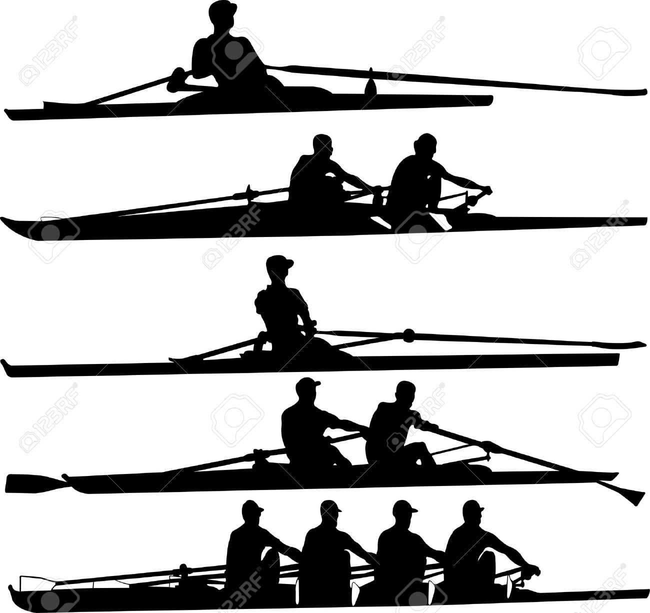 Row Boat Clipart Rowing Set Vector Clipart
