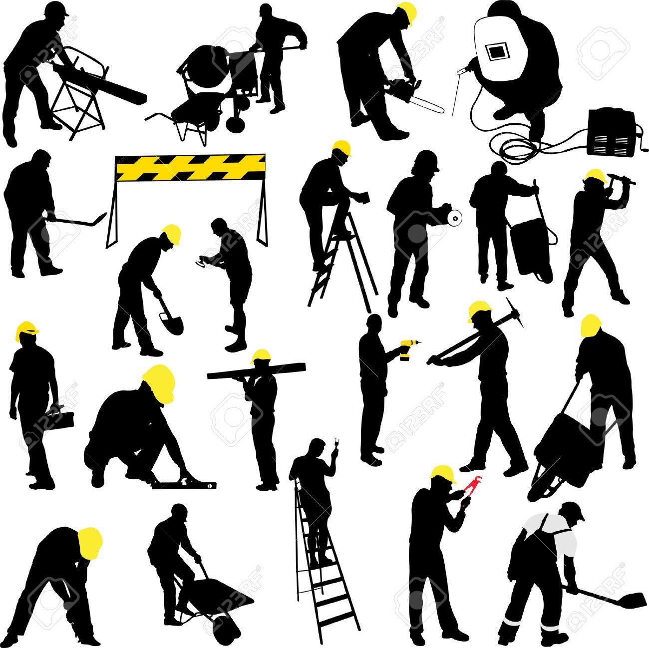 Bauarbeiter clipart schwarz weiß  Bauarbeiter Lizenzfreie Vektorgrafiken Kaufen: 123RF