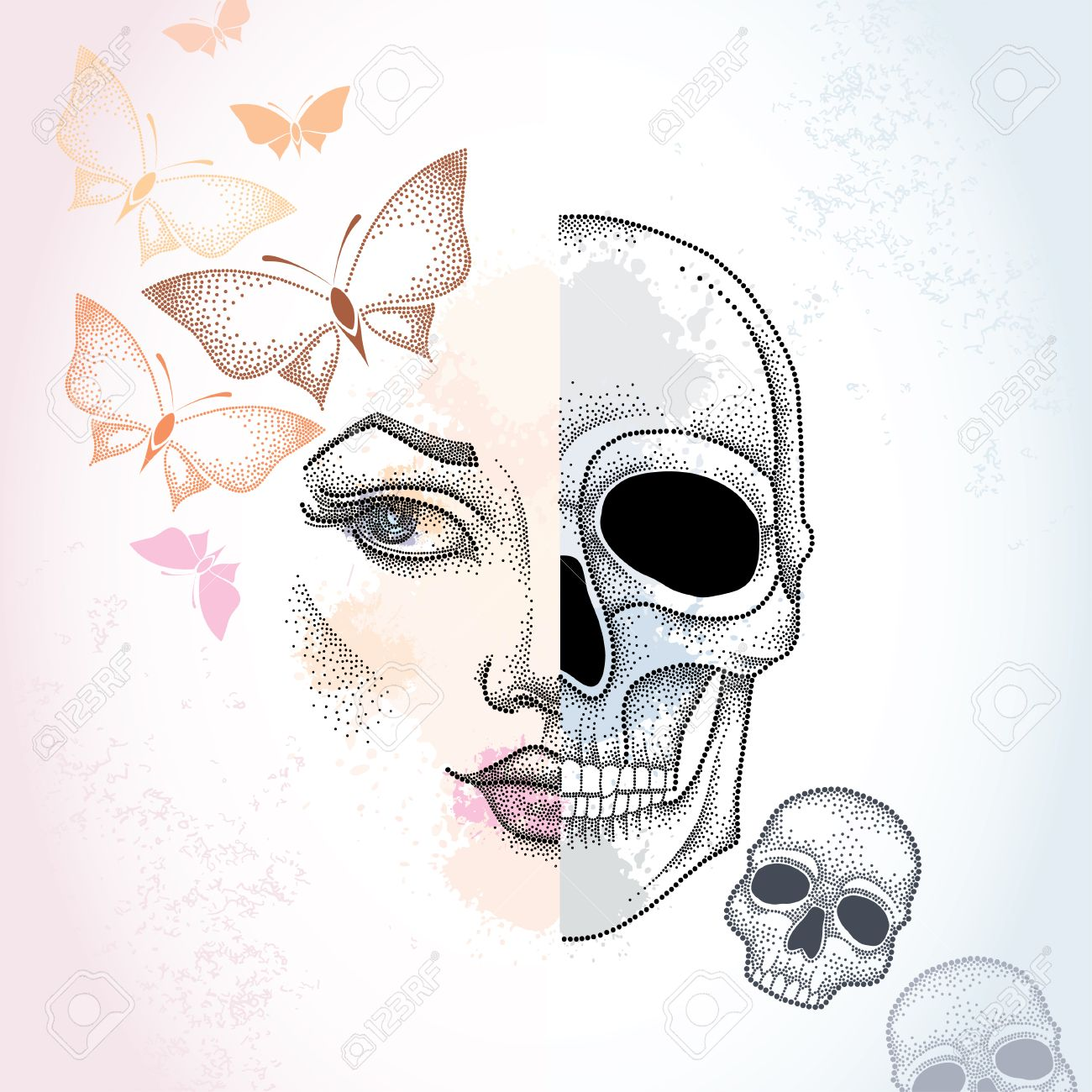 Dotted Half Beautiful Woman Face And Skull On The Pastel Blots