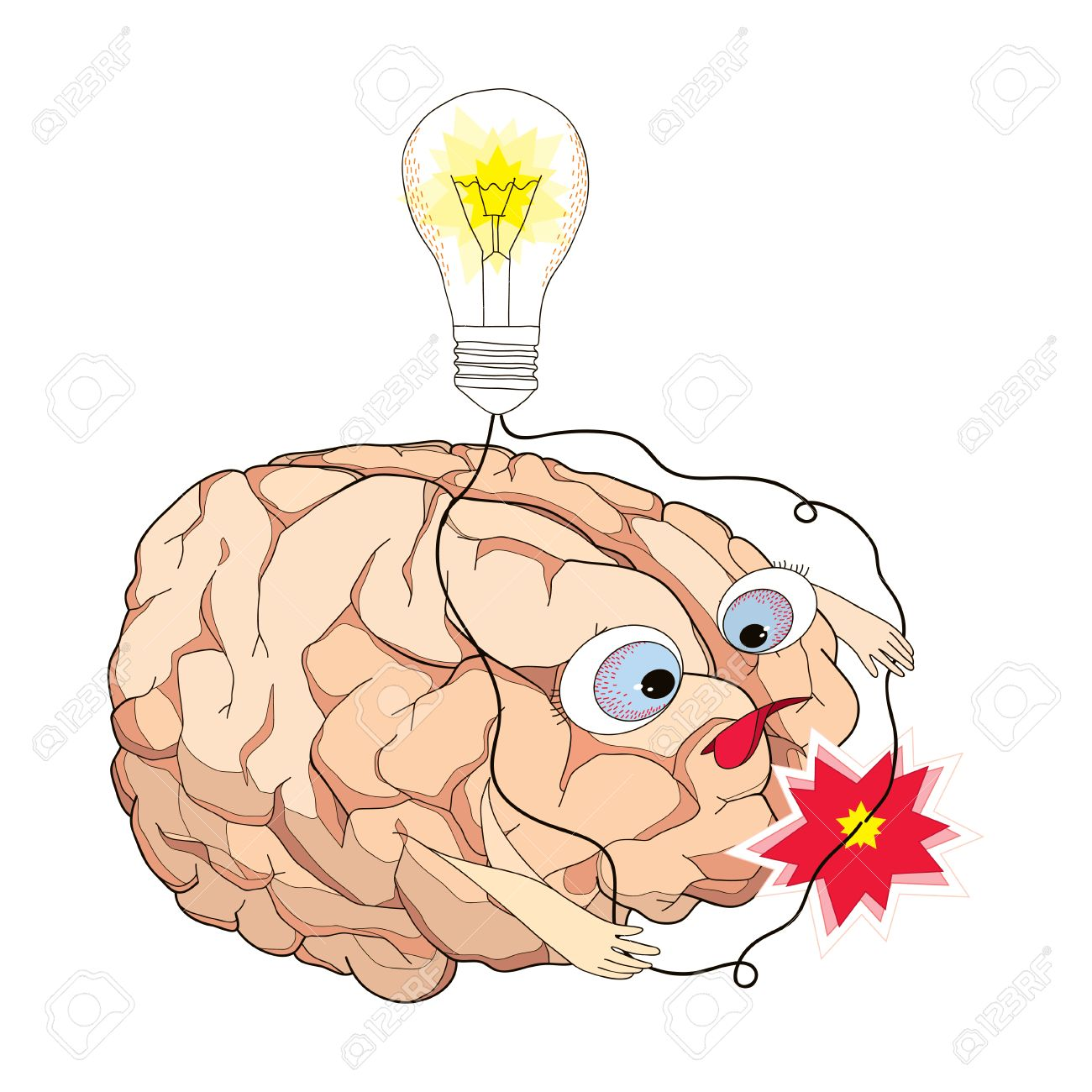 Cartoon Of Wiring The Brain Not Lossing Diagram Short Circuit With Turning Light Bulb And Wires In Rh 123rf Com Live