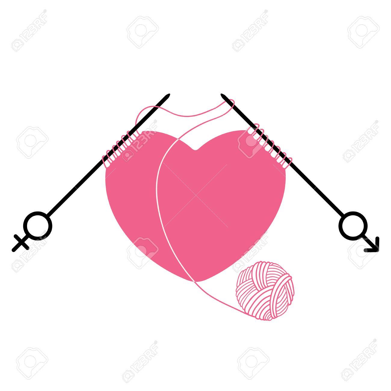 Corazón Y Agujas De Tejer De Color Rosa Con El Símbolo De Sexo ...