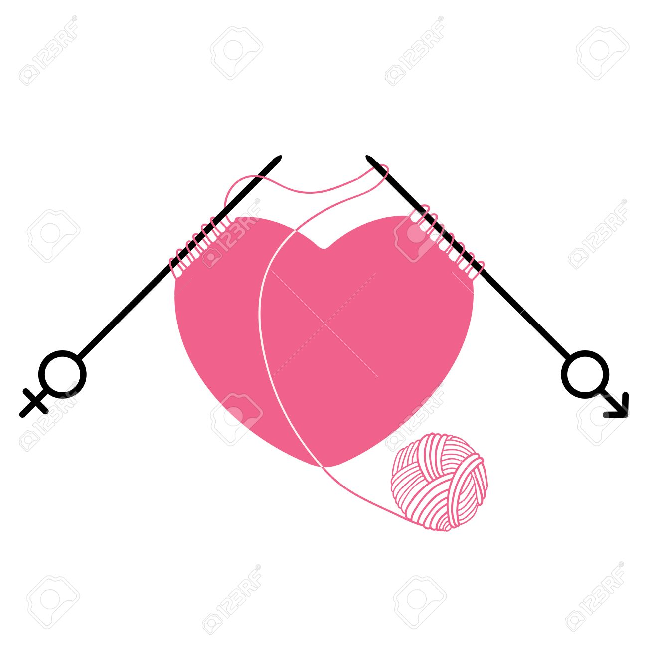 Pink heart and knitting needles with gender symbol isolated on pink heart and knitting needles with gender symbol isolated on white background concept of relations buycottarizona